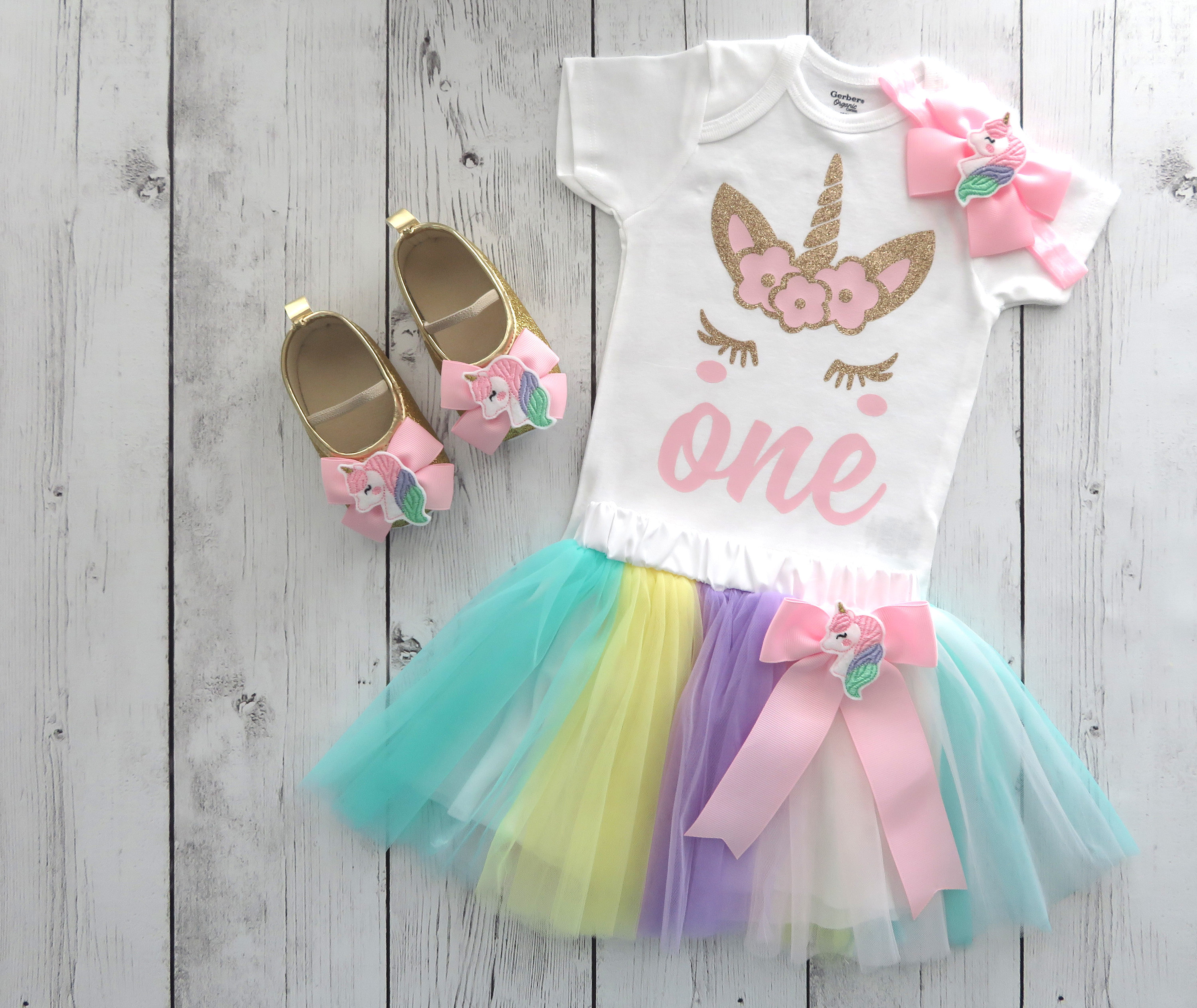 Unicorn First Birthday Outfit with Rainbow Tutu and Unicorn Shoes - unicorn 1st bday outfit, unicorn tutu, first birthday girl, rainbow tutu