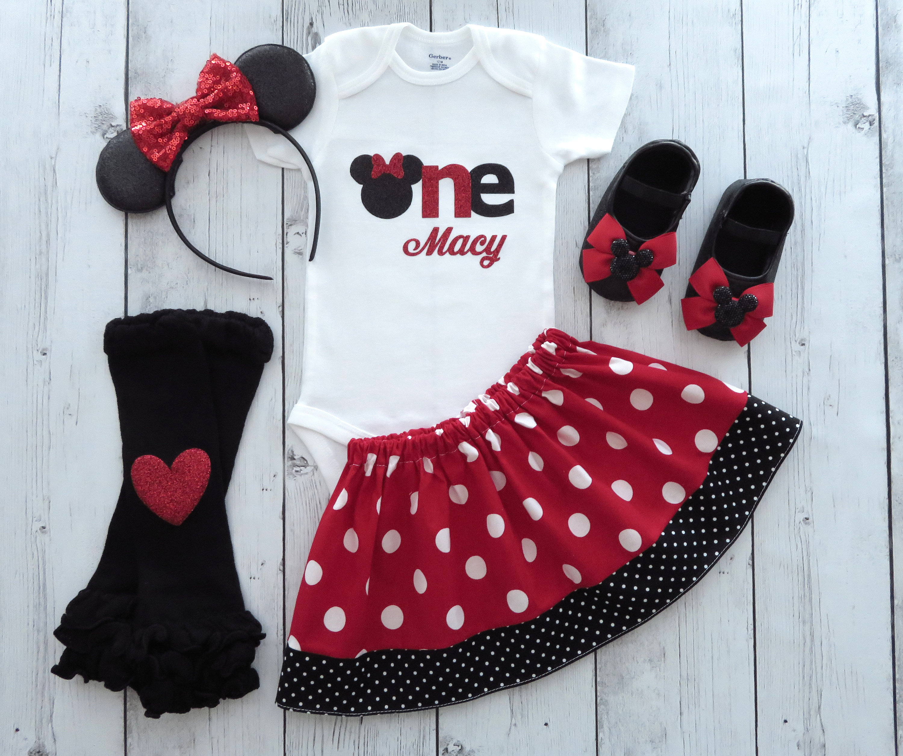 Minnie Mouse First Birthday Outfit in red polka dots with Minnie Ears and minnie shoes -first birthday outfit, personalized, minnie 1st bday