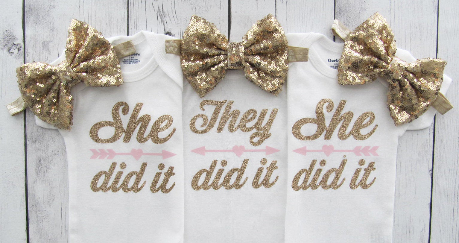 Triplet Baby Shower Gift - She did it, She did it, They did it, triplet baby gift, girl triplets, pink gold, triplet photoshoot