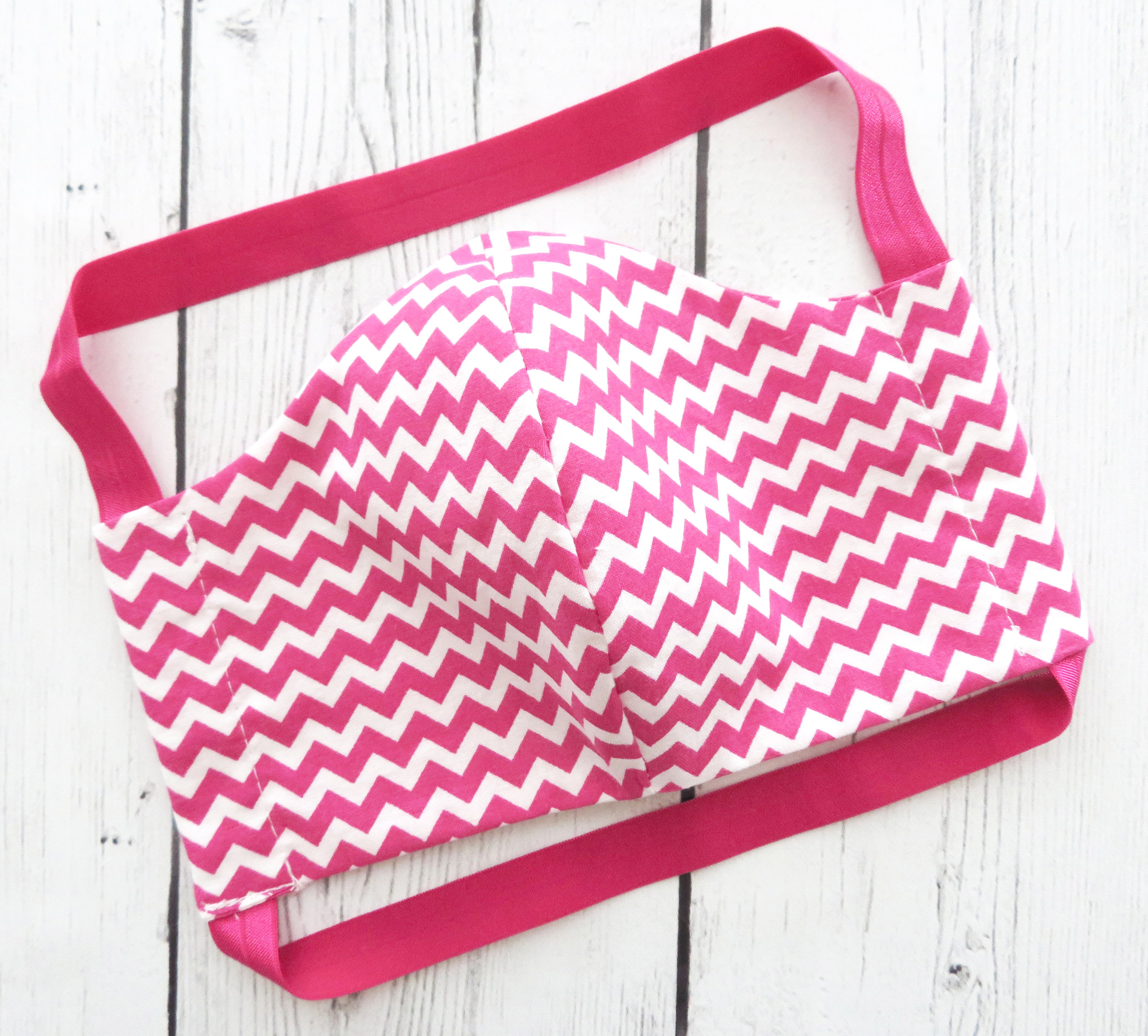 Face Mask in Hot Pink Chevron - READY TO SHIP from usa! handmade cotton face mask for adult, designer face mask, washable and re-usable