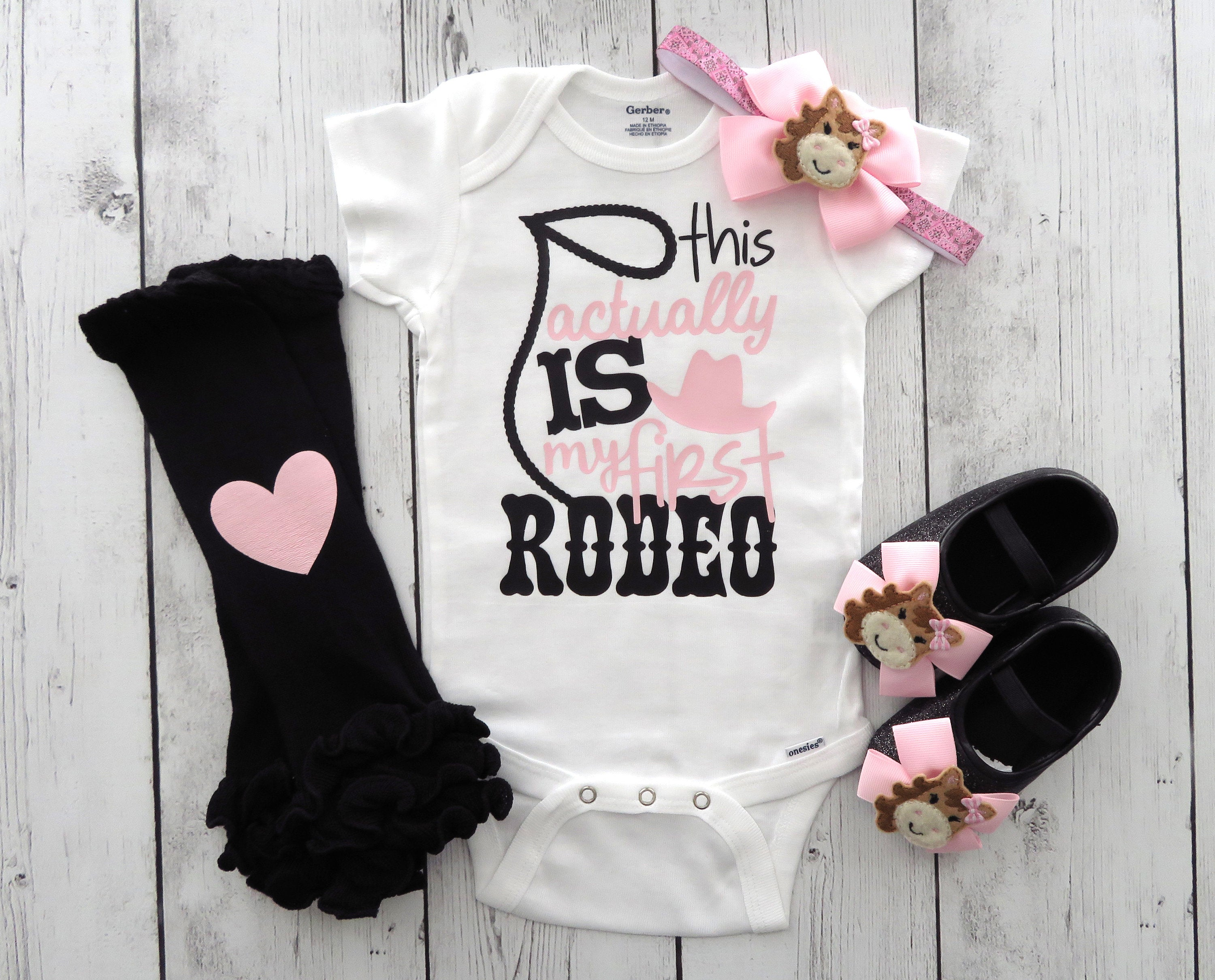 Cowgirl First Birthday Onesie for Girl - cowgirl light pink, this actually is my first rodeo, rodeo birthday girl, cowgirl shoes, 1st bday