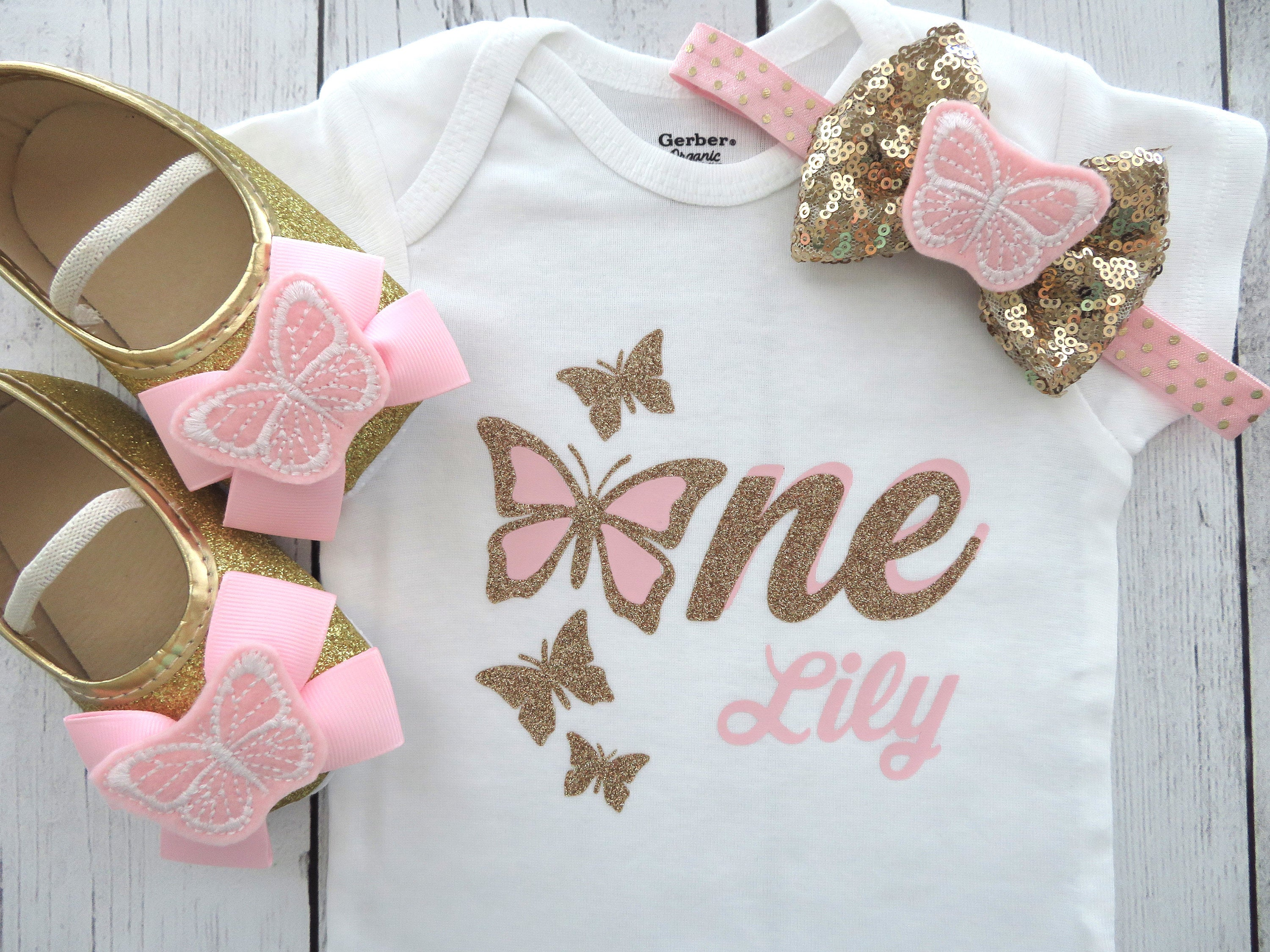 Butterfly First Birthday Onesie in pink and gold - girl first birthday shirt, butterfly 1 shirt, 1st birthday girl, pink gold butterflies