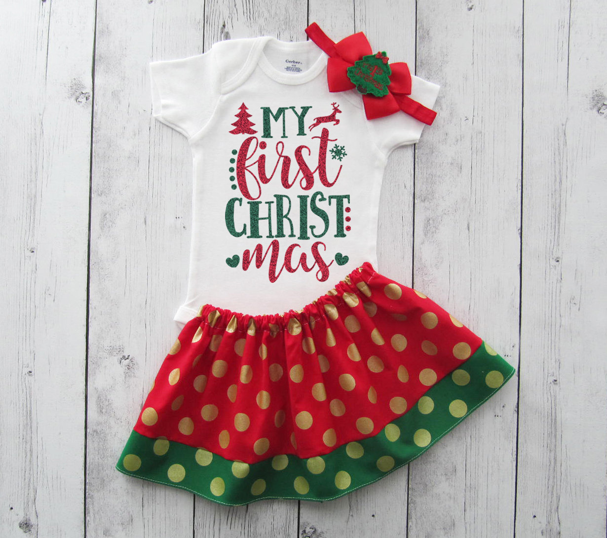 My First Christmas Outfit for Baby Girl in red and green glitter - first christmas shirt, holiday outfit, babys 1st xmas, leg warmers