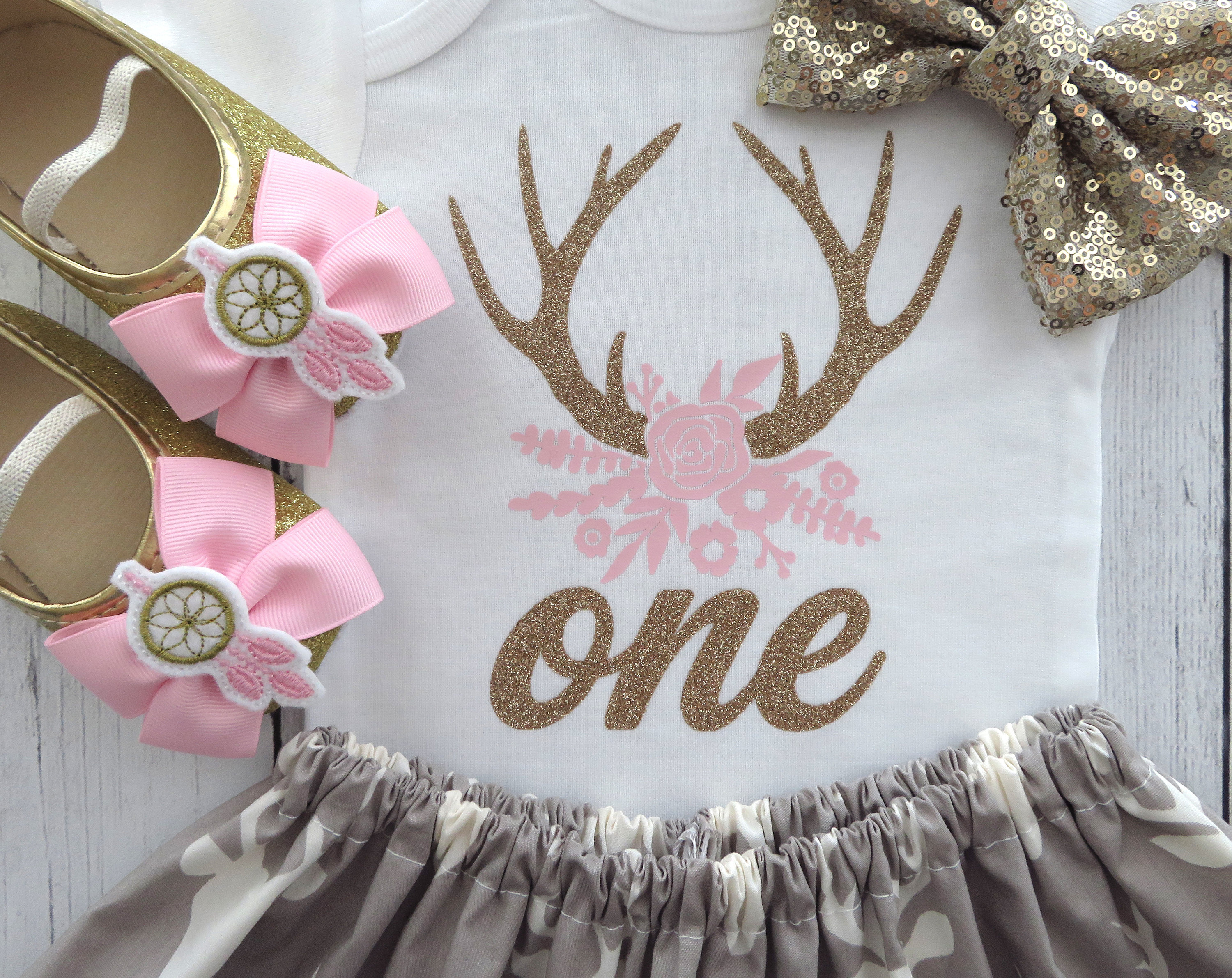 Pink and Grey Deer Antlers First Birthday Outfit - pink glamo, girl birthday outfit, wild one, deer head flowers, glamo, camo, antlers