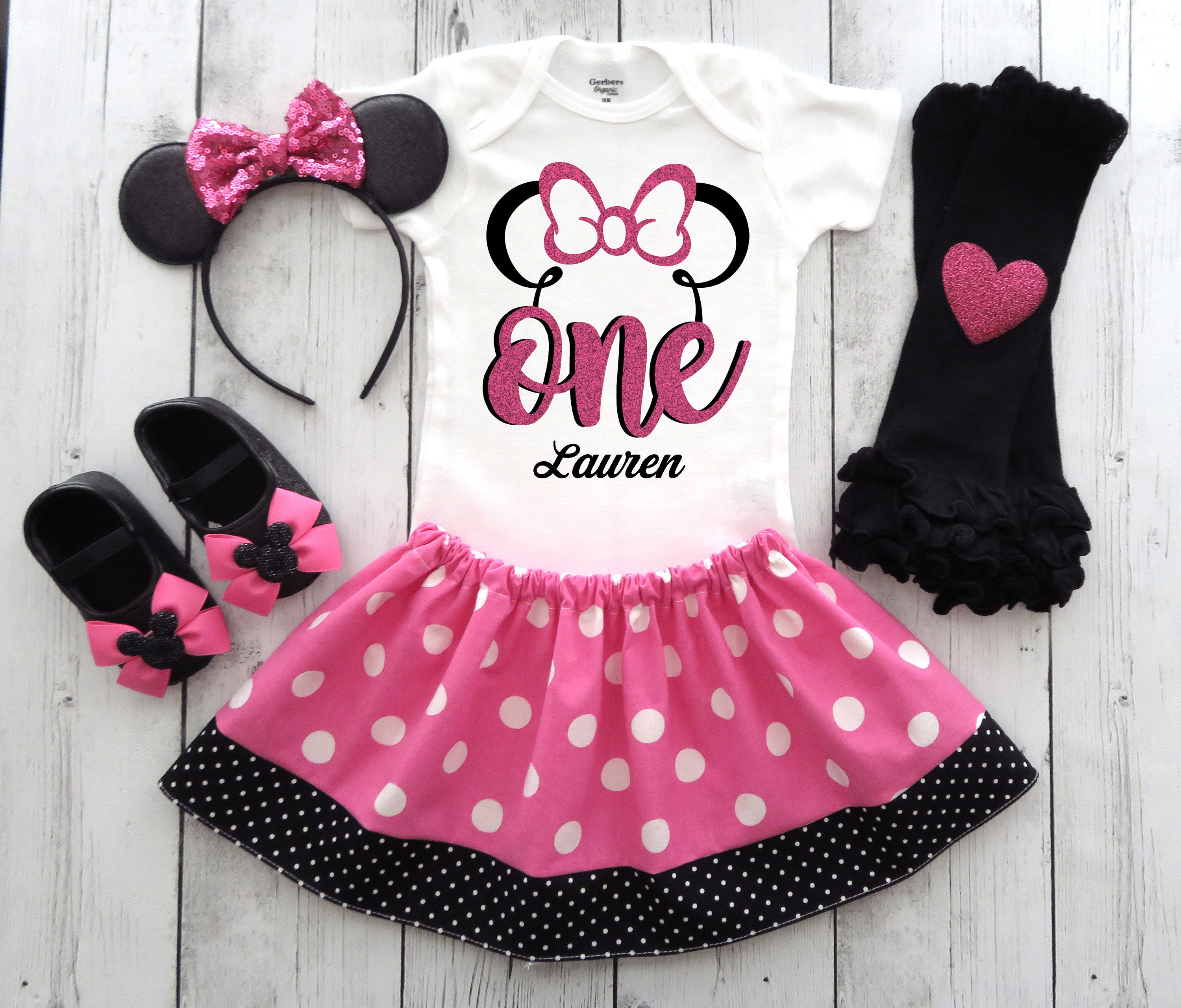 Minnie Mouse First Birthday Outfit in pink polka dots with headband - first birthday, minnie mouse, girl birthday, minnie mouse birthday