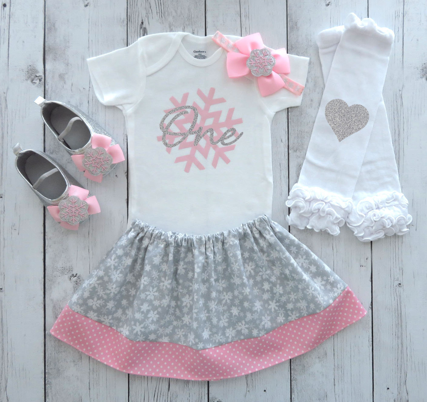 Winter ONEderland First Birthday Outfit in pink and gray/silver - girl 1st birthday outfit, winter birthday, snow much fun to be one girl