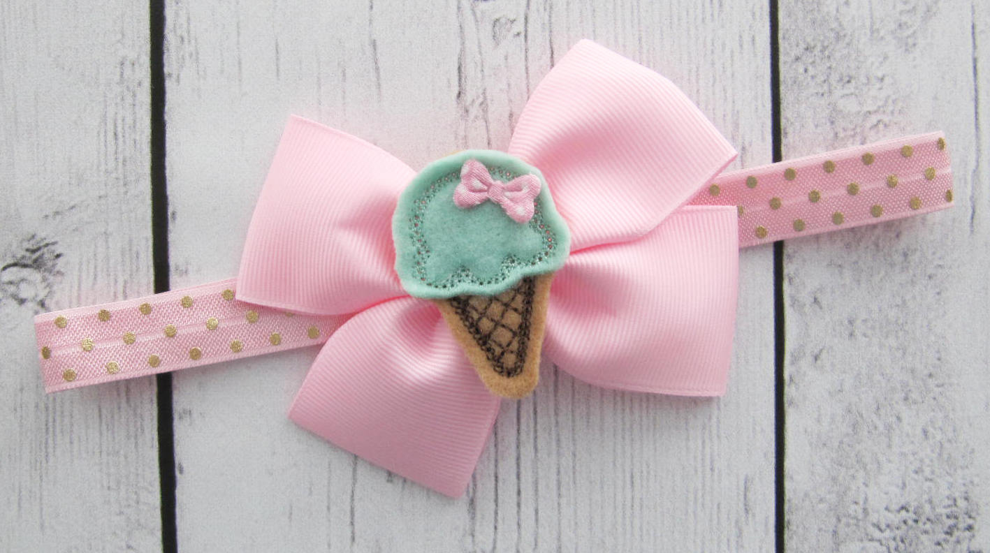 Ice Cream Bow Headband for Baby Girl - sweet one birthday, pink mint bow, baby girl headband, pink gold,