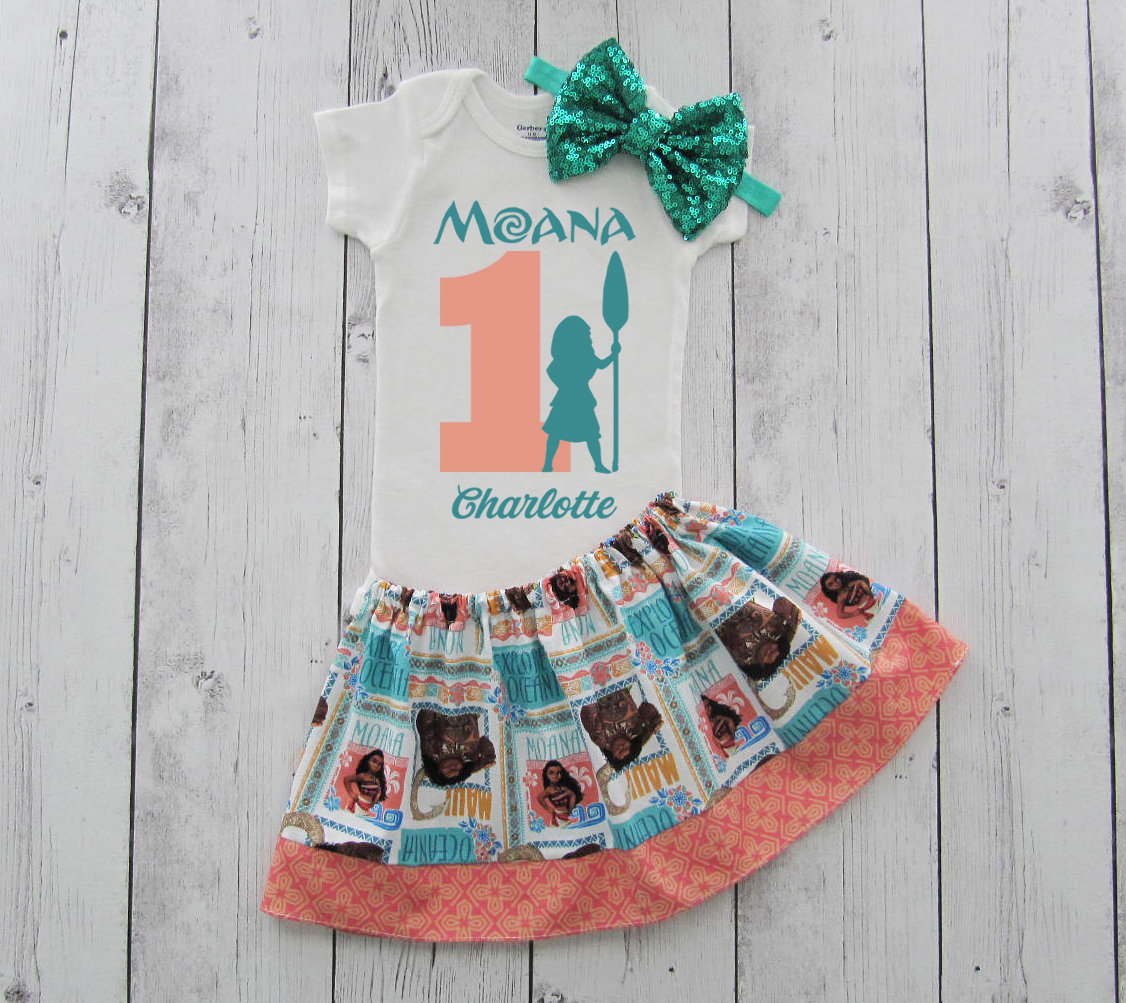 Moana First Birthday Outfit in coral and teal print - 1st bday outfit, first birthday moana, personalized, luau birthday, moana outfit