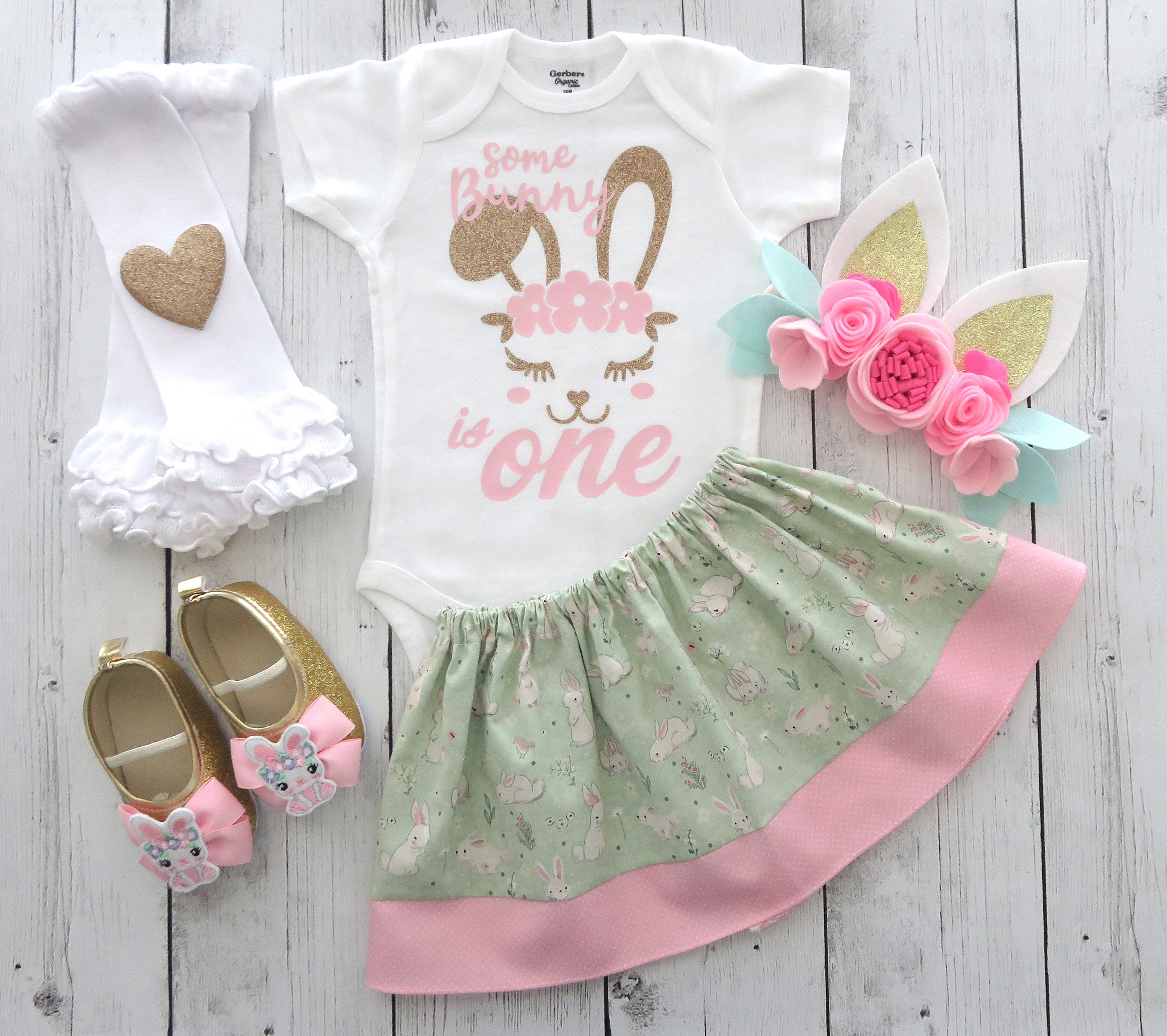 Bunny One First Birthday Outfit in mint, pink and gold with bunny ears and bunny sheos - some bunny is one, easter birthday, bunny dress