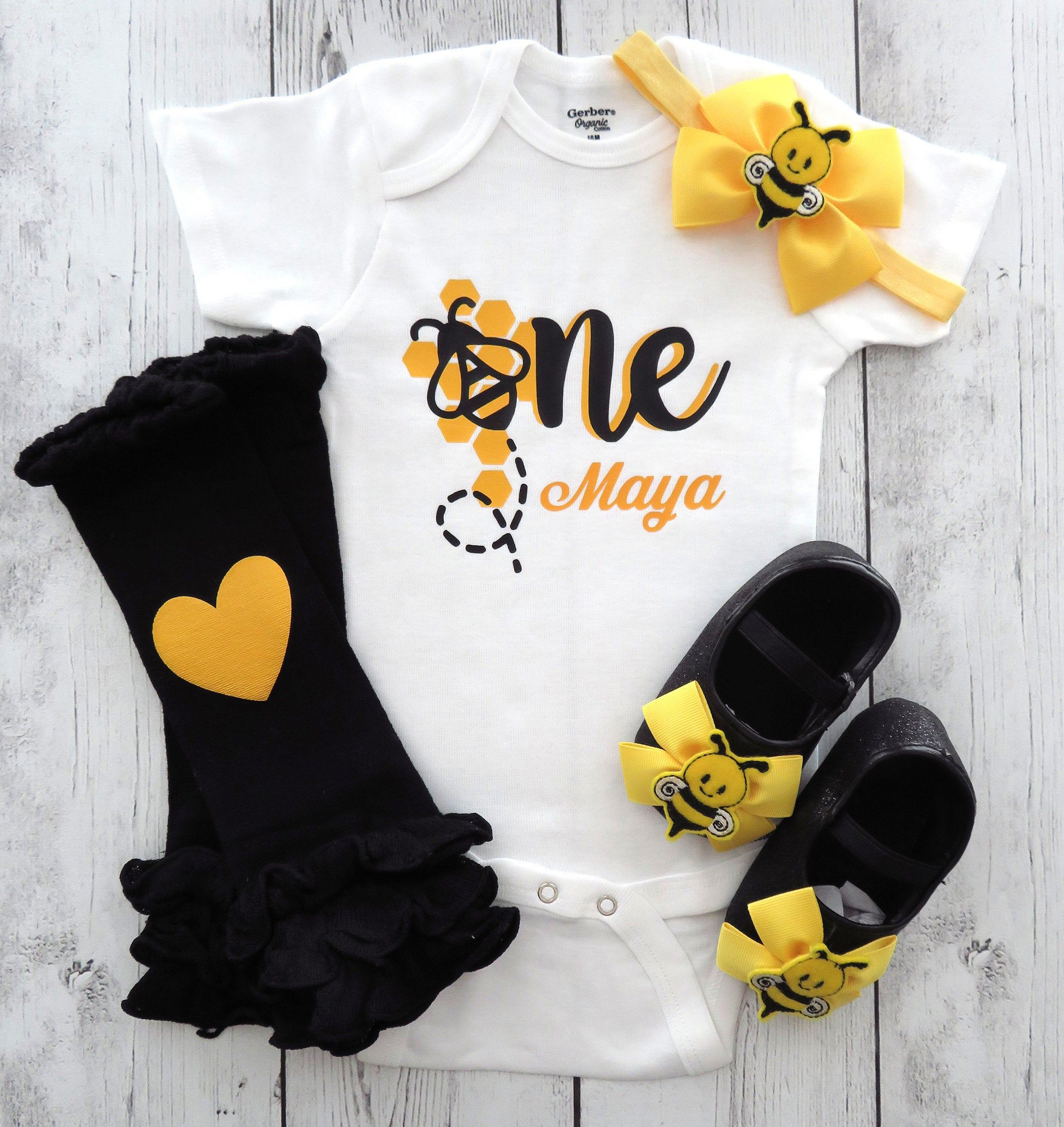 Bumble Bee First Birthday Onesie in yellow and black - first bee-day birthday outfit, bee shoes, bee 1st bday outfit, first birthday girl