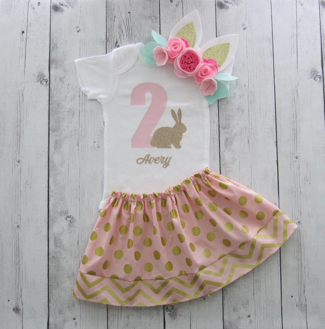 Bunny 2 Second Birthday Outfit - pink gold, some bunny is turning two, girl birthday outfit, bunny two, bunny ears headband, bunny 2 outfit