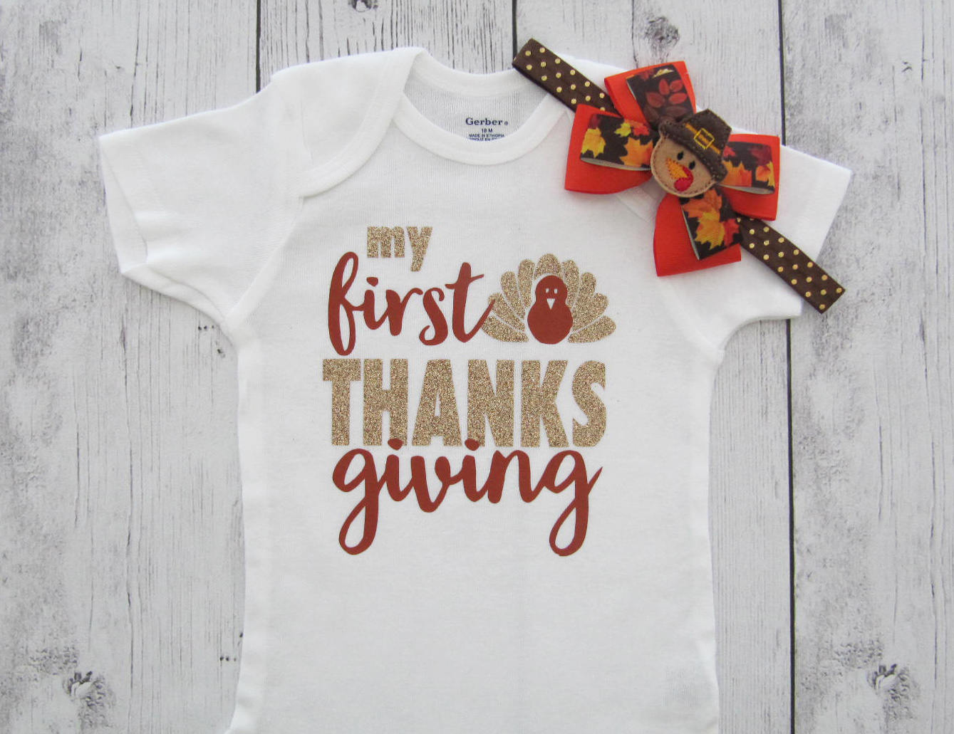My First Thanksgiving Onesies - baby holiday outfit, my first turkey, baby girl first thanksgiving, first thanksgiving shirt, turkey shirt