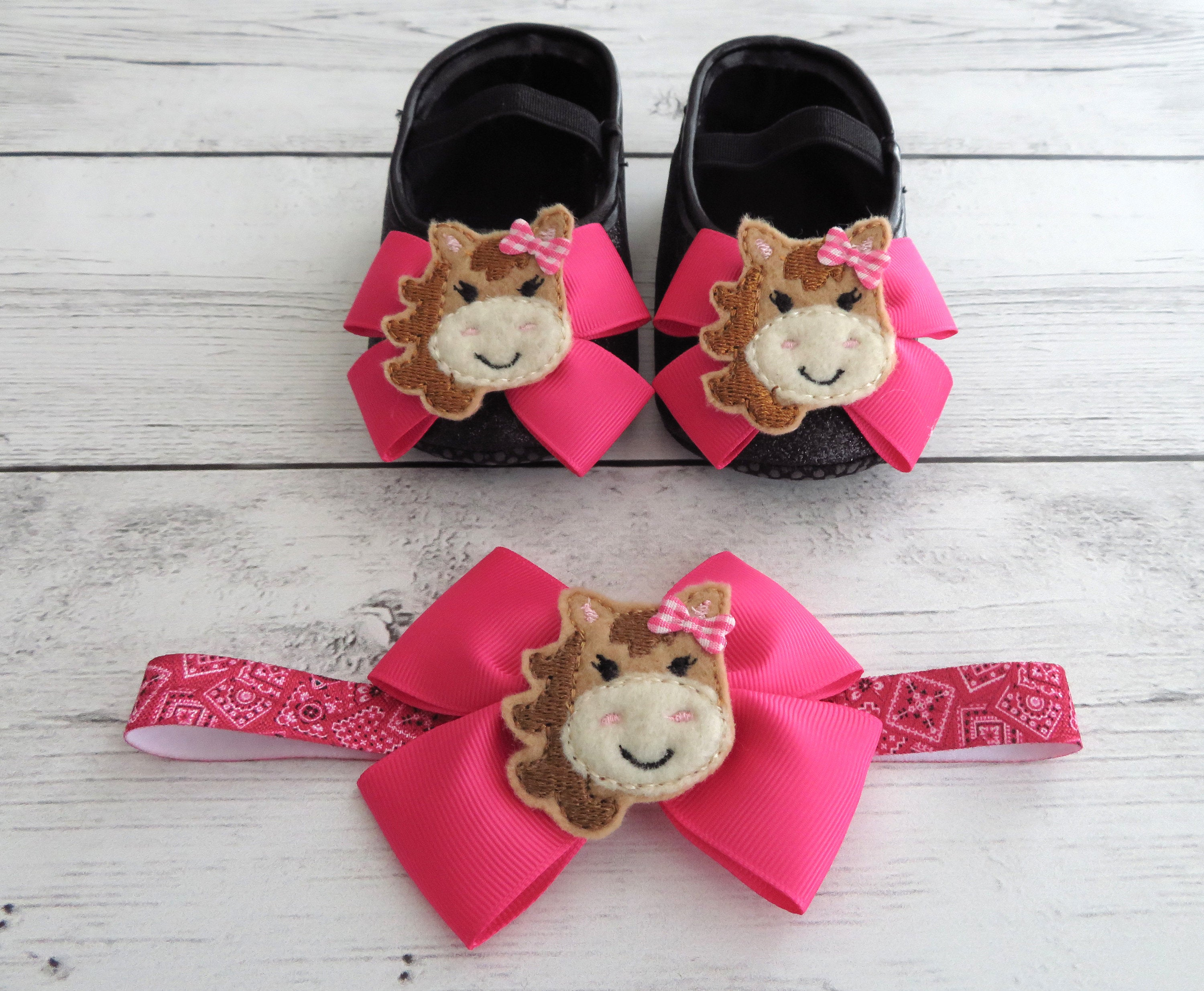 Cowgirl First Birthday Shoes & Headband for Girl -  black glitter shoes, 1st bday shoes pink black, farm animal birthday, barnyard birthday