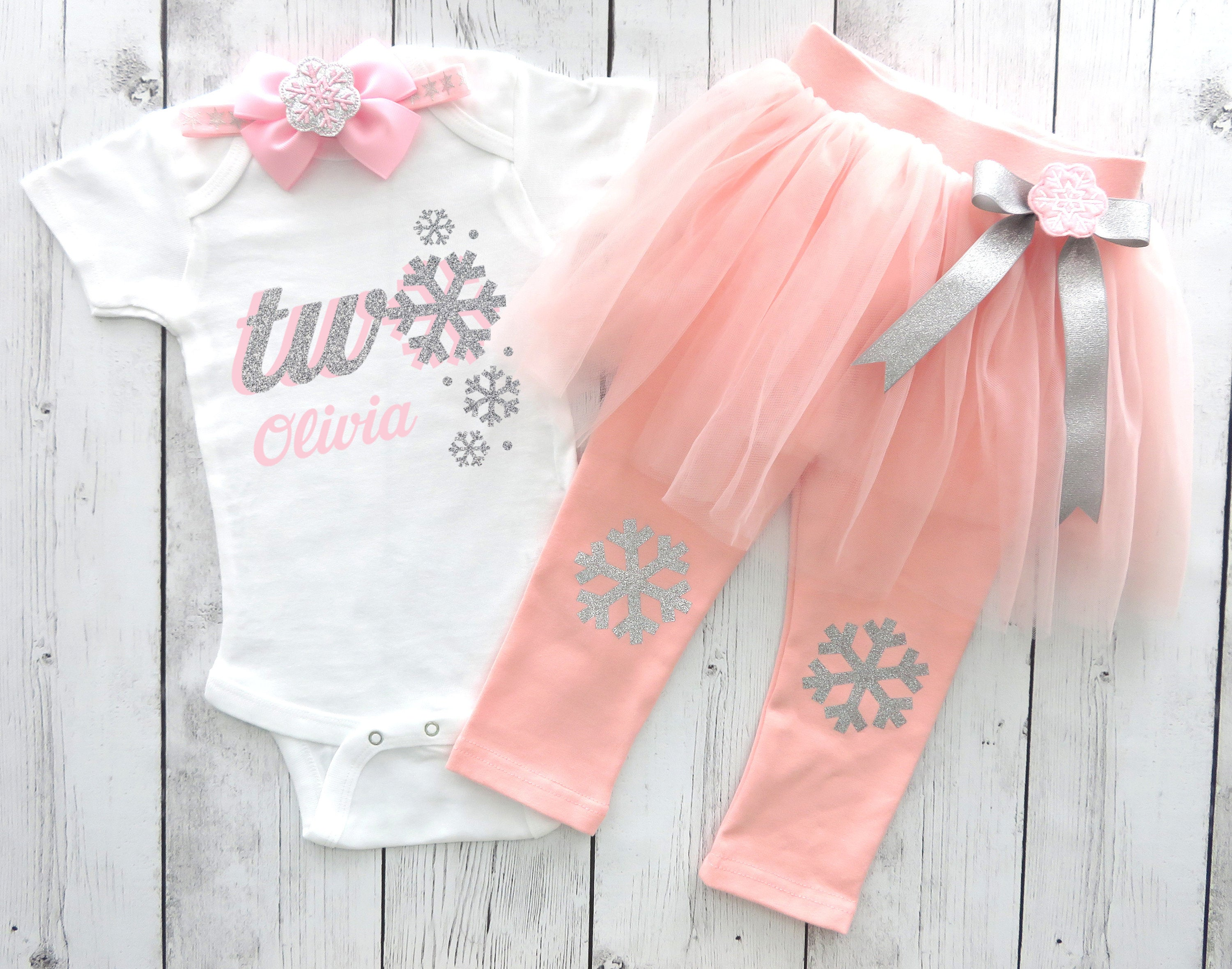 Snowflake Second Birthday Outfit in pink and silver - baby girl 2nd birthday, snowflake pink and silver pants, snow much fun to be two girl