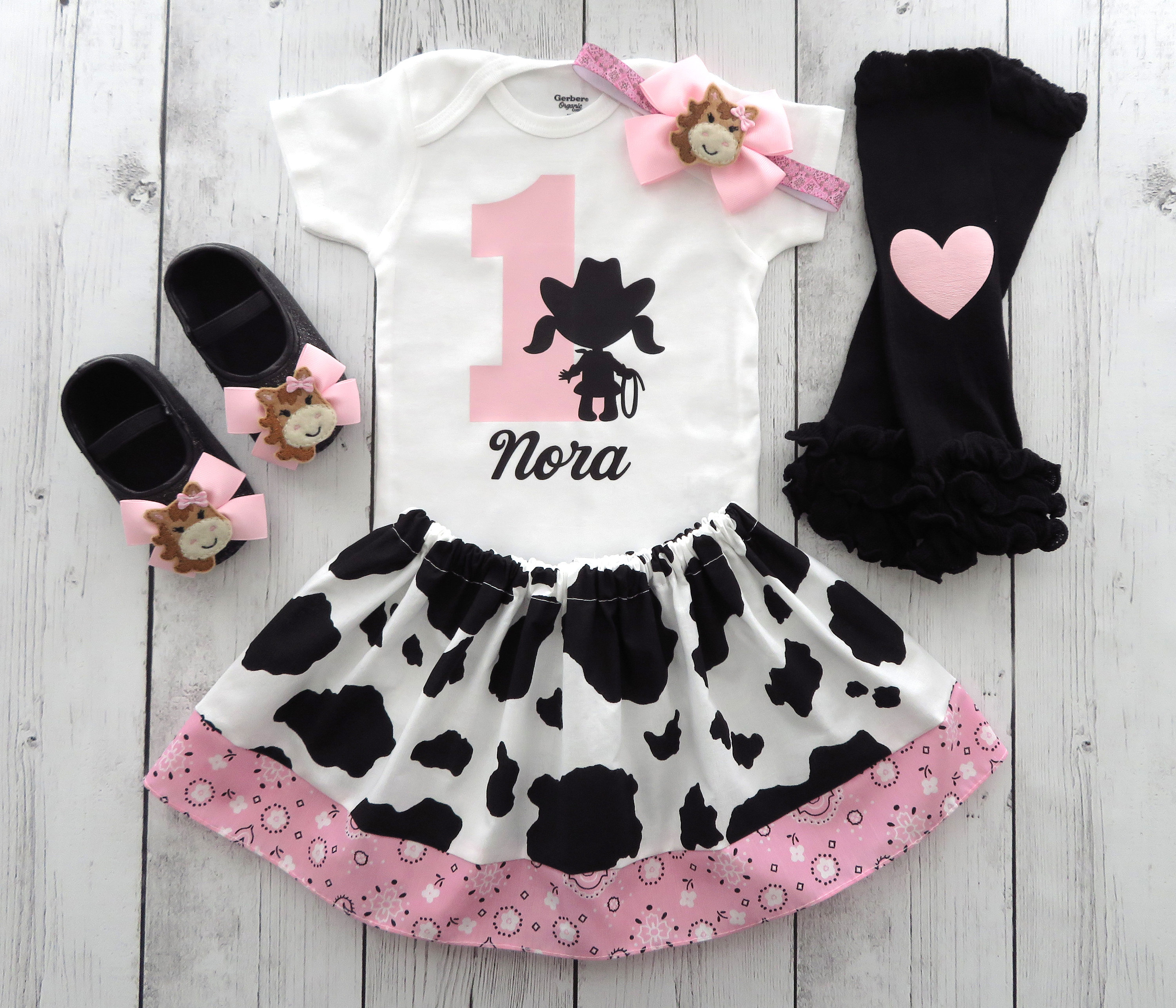 Cowgirl First Birthday Outfit in Cow print and Light Pink Bandana - 1st bday outfit, cowgirl birthday pink, rodeo birthday girl