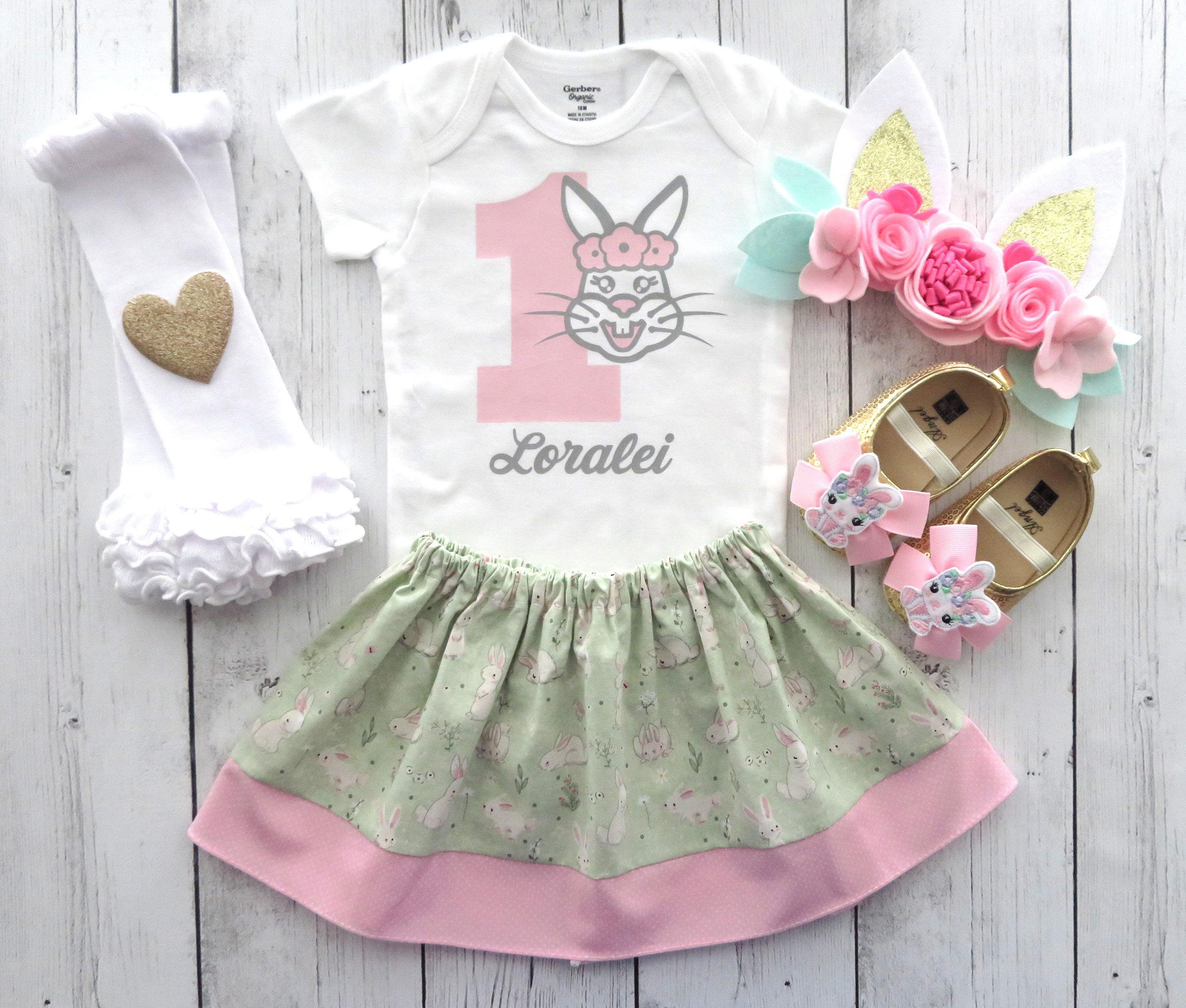 Bunny First Birthday Outfit in pink, mint and gold with bunny ears and bunny shoes - girl 1st bday outfit, some bunny is one, personalized