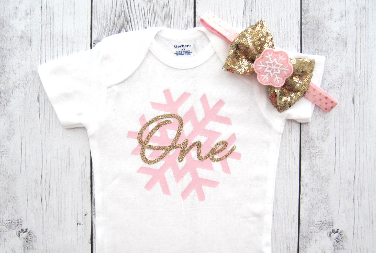 Snowflake First Birthday Onesie - winter onederland shirt, baby girl birthday, snowflake birthday, winter birthday, pink gold