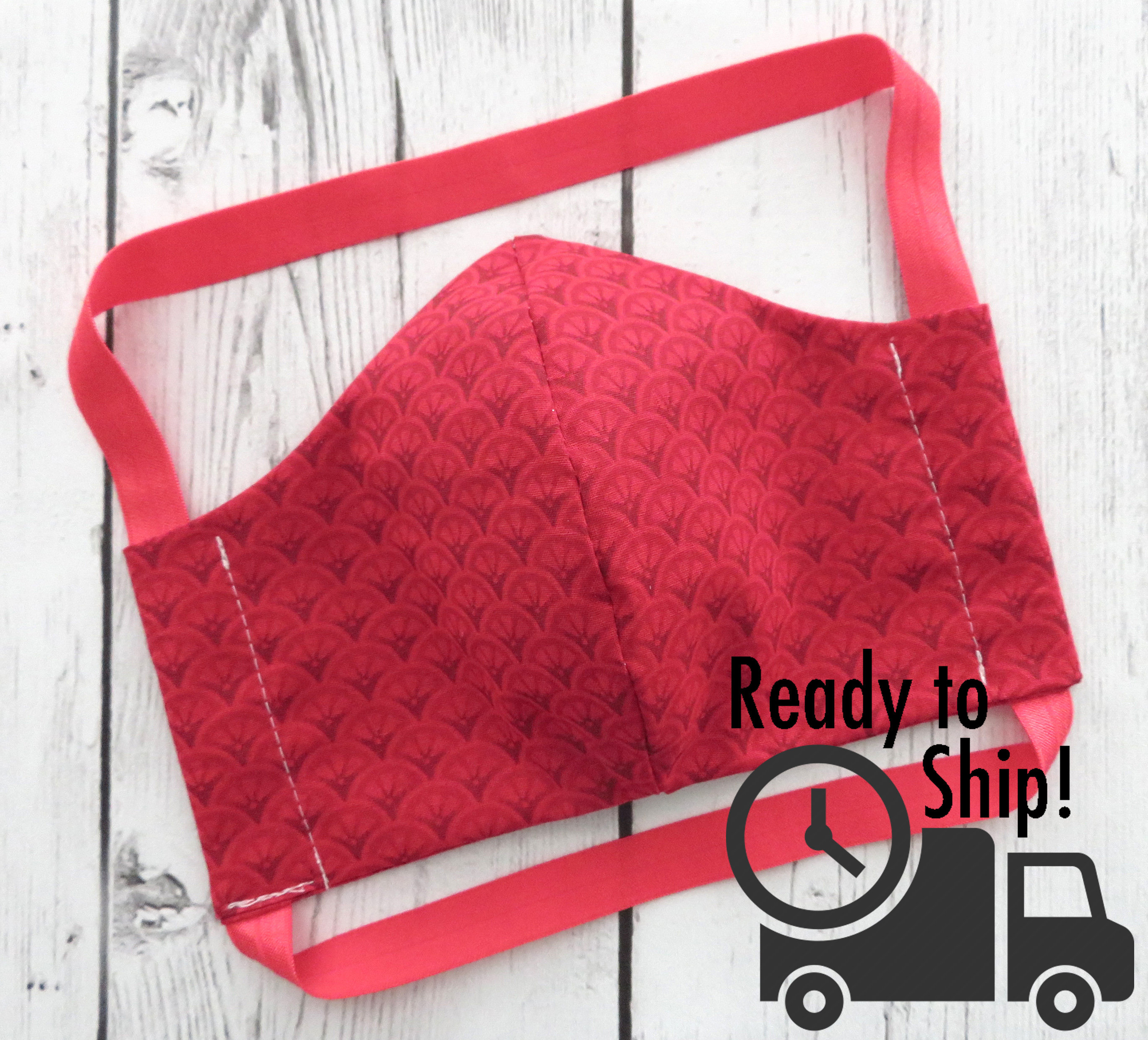 Face Mask in Red Fan Pattern with soft elastic - READY TO SHIP! - handmade cotton face mask for adult, washable and re-usable