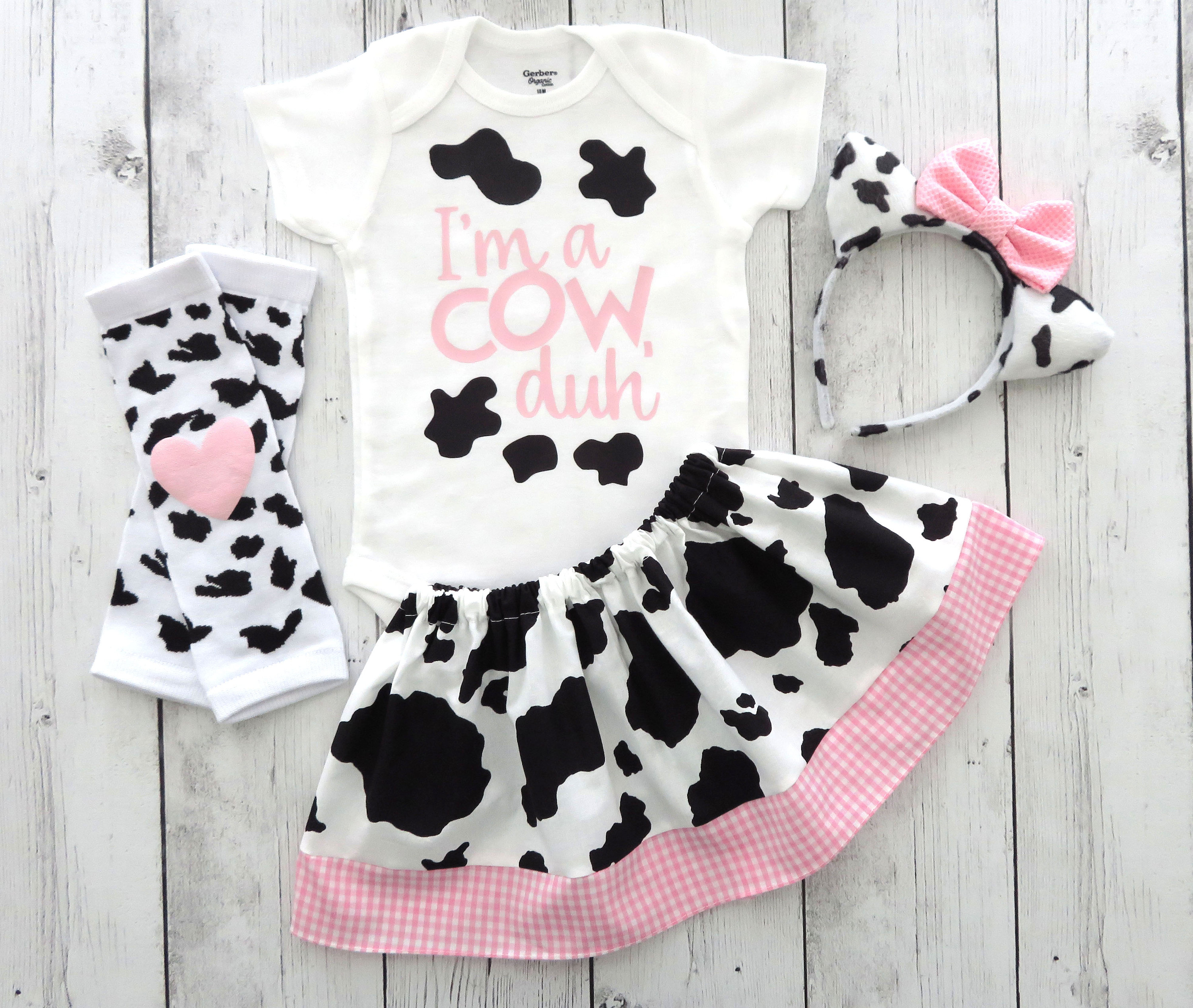 Cow Halloween Costume - baby/toddler halloween costume, first halloween, cow ears headband, toddler halloween costume, cow custume girl