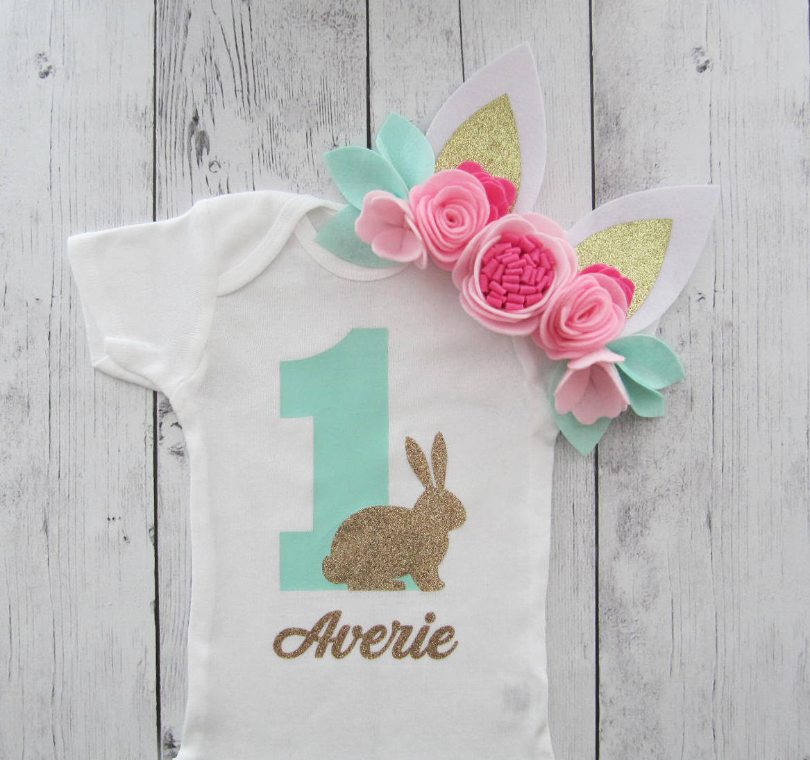 Bunny First Birthday Onesie - mint gold, baby girl, some bunny is one, bunny 1st birthday onesie, bunny first birthday girl, bunny birthday