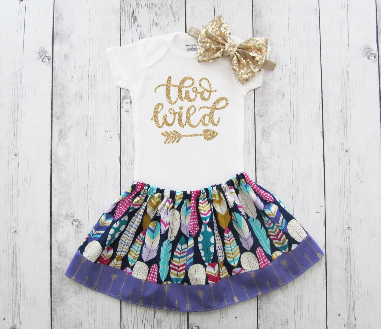 Two Wild Birthday Oufit for Girl - second birthday outfit, two year old, two wild birthday dress, feather skirt, two wild purple