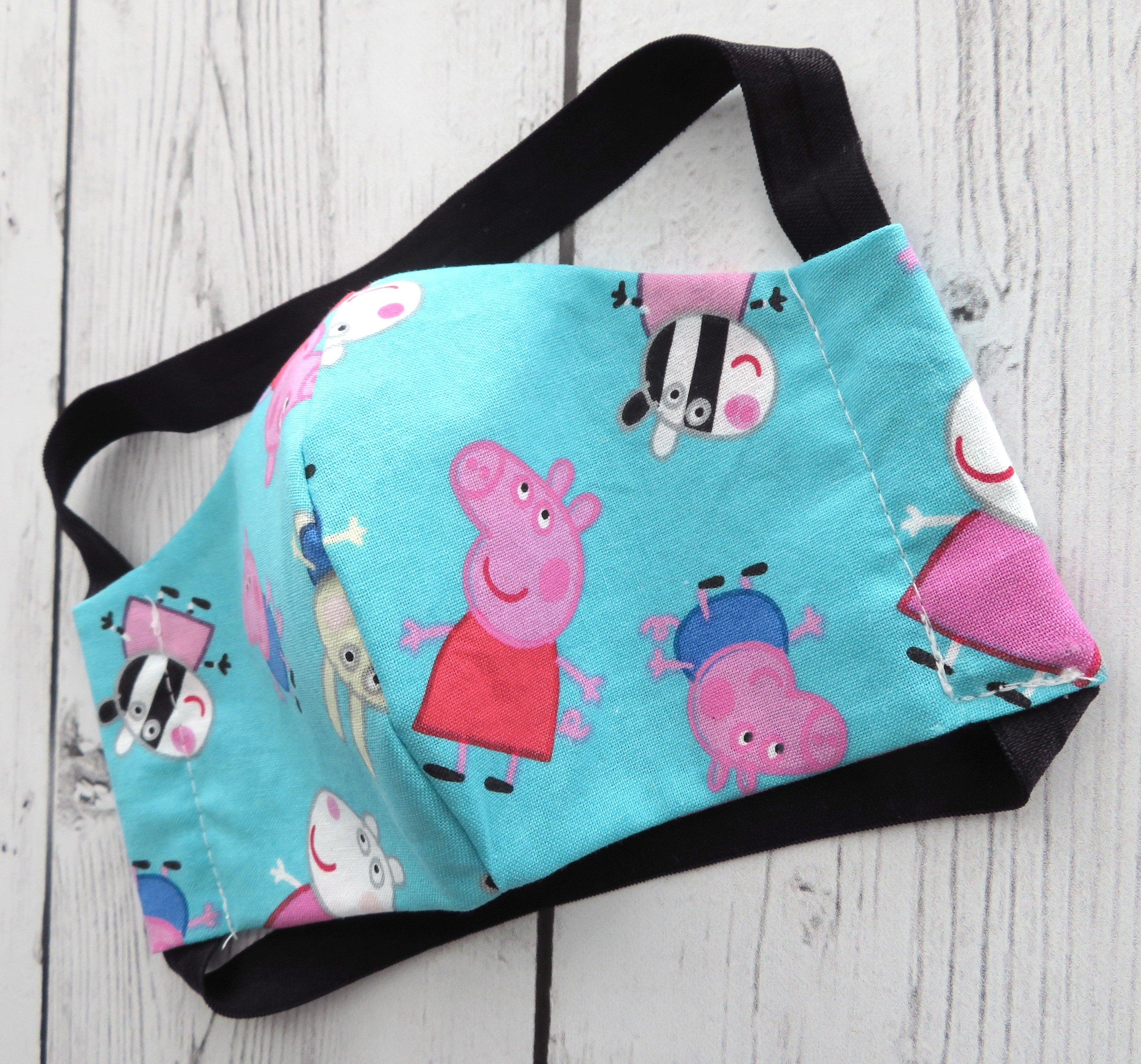 YOUTH (Ages 5-8) Face Mask in Peppa Pig print -handmade cotton, washable and re-usable, comfortable head elastic, kids face mask, child mask