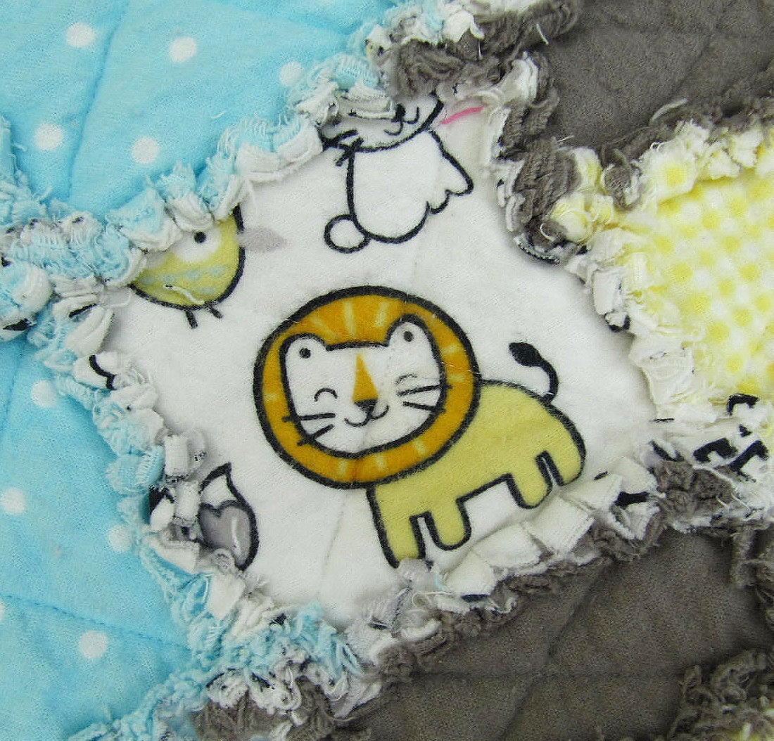 Boy's Animal Rag Quilt - soft pastels, baby boy nursery blanket, blue polka dot, yellow and grey