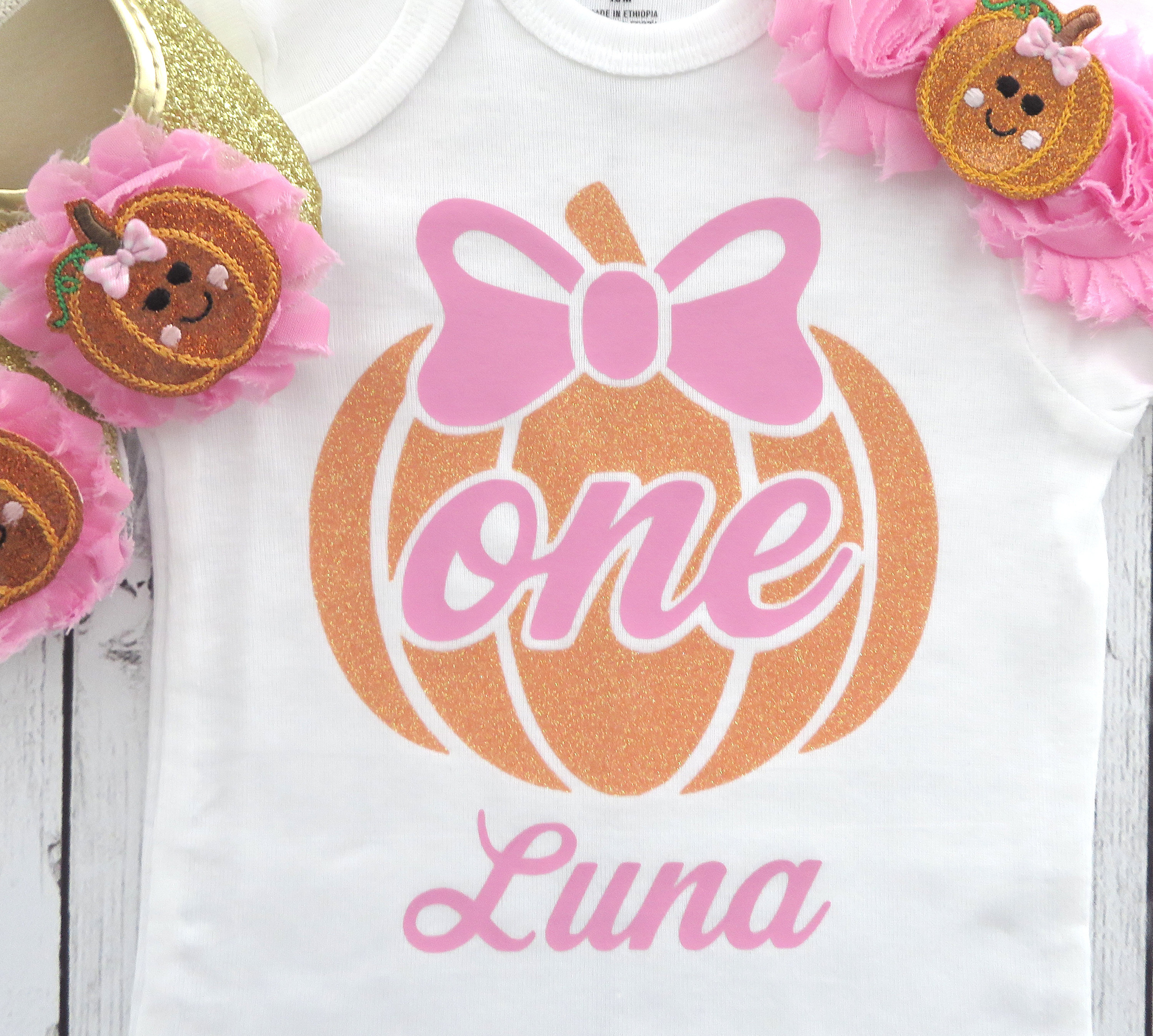 Pumpkin First Birthday Onesie - orange glitter pumpkin, pink bow, pink orange pumpkin, one, pumpkin headband, fall birthday