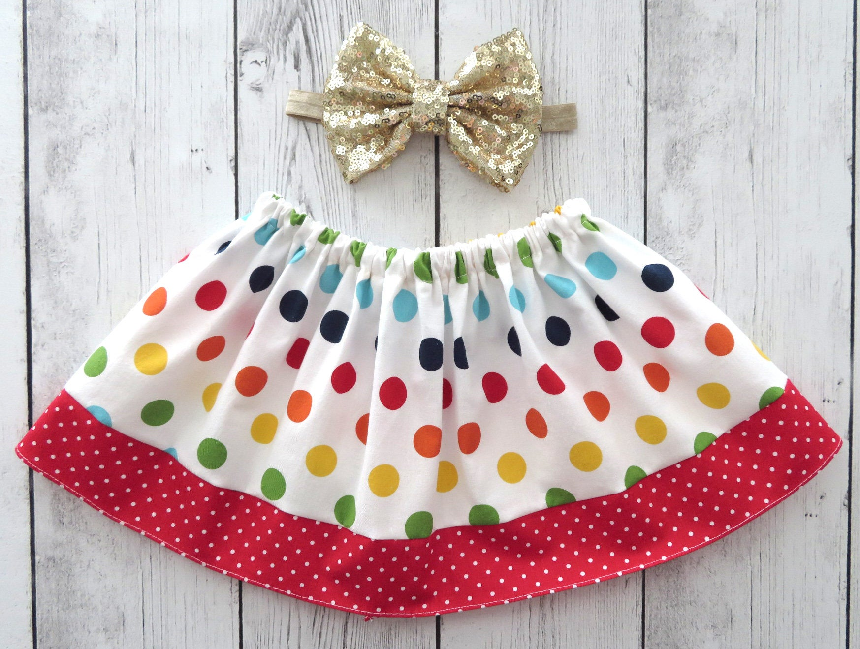 Colorful Polka Dot Skirt for baby girl - red skirt, polka dot skirt, baby girl skirt, baby girl skirts