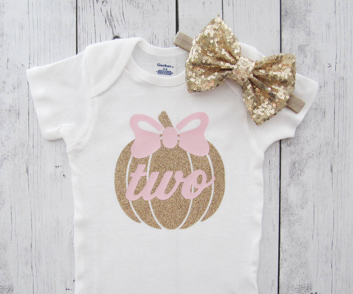 Pumpkin Two Birthday Shirt - pink gold, pumpkin bow, second birthday onesie, pumpkin birthday two year old, pumpkin shirt girl,