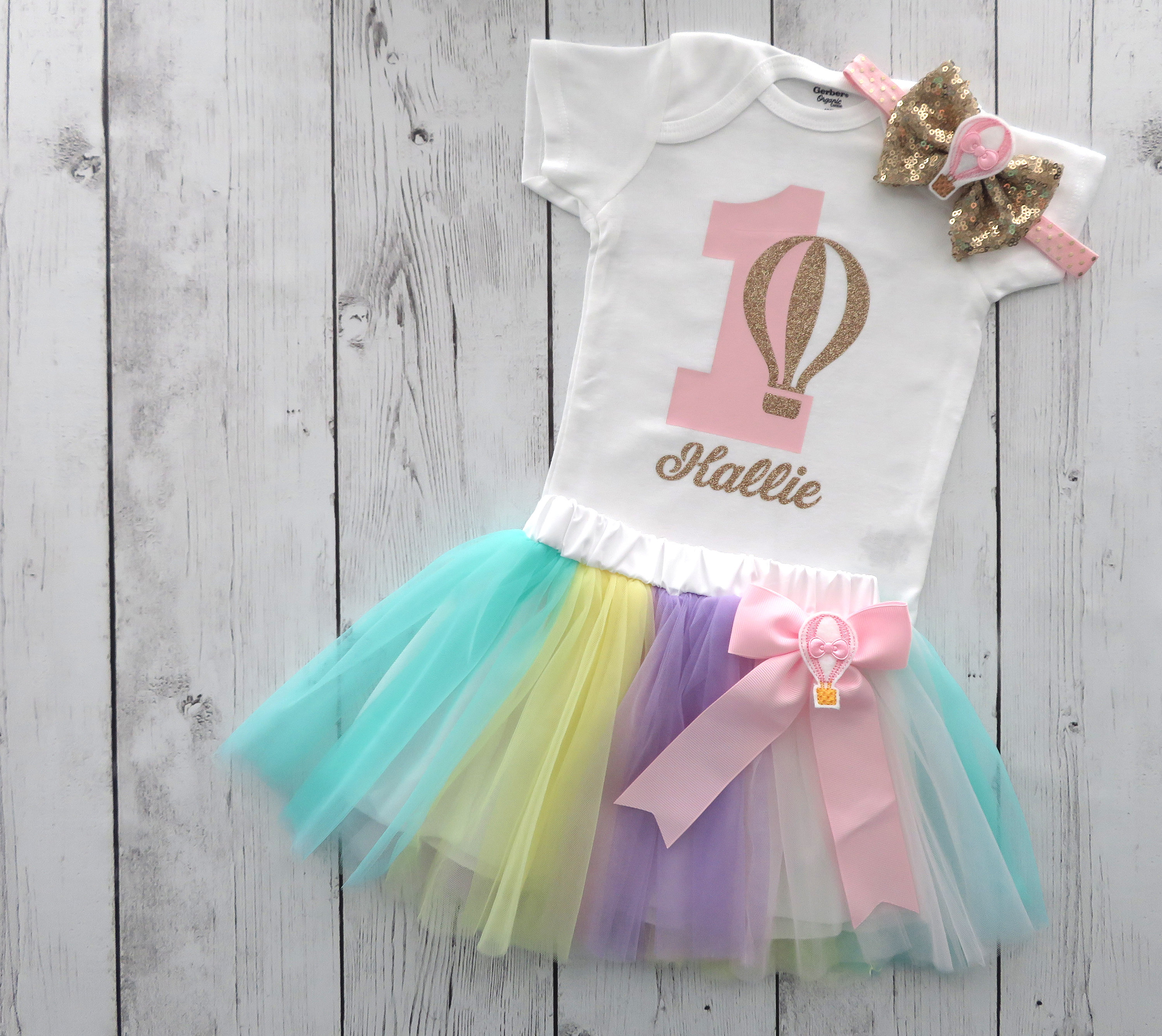 Hot Air Balloon First Birthday Outfit with tutu skirt - first birthday outfit girl, cake smash, pink gold, hot air balloon birthday outfit