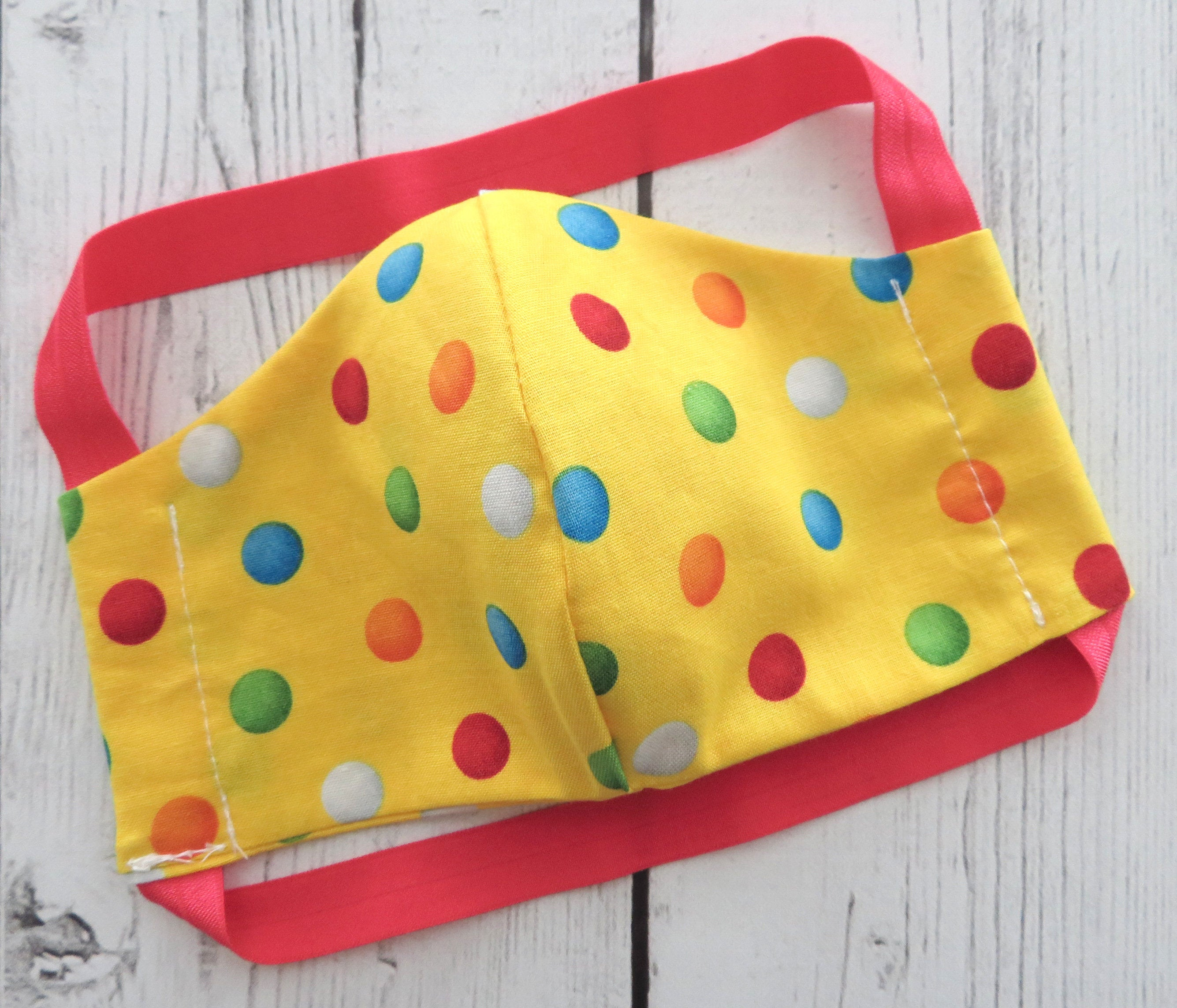 YOUTH (Ages 5-8) Face Mask in yellow dots print - handmade cotton mask, washable and re-usable, comfortable head elastic, kids face mask