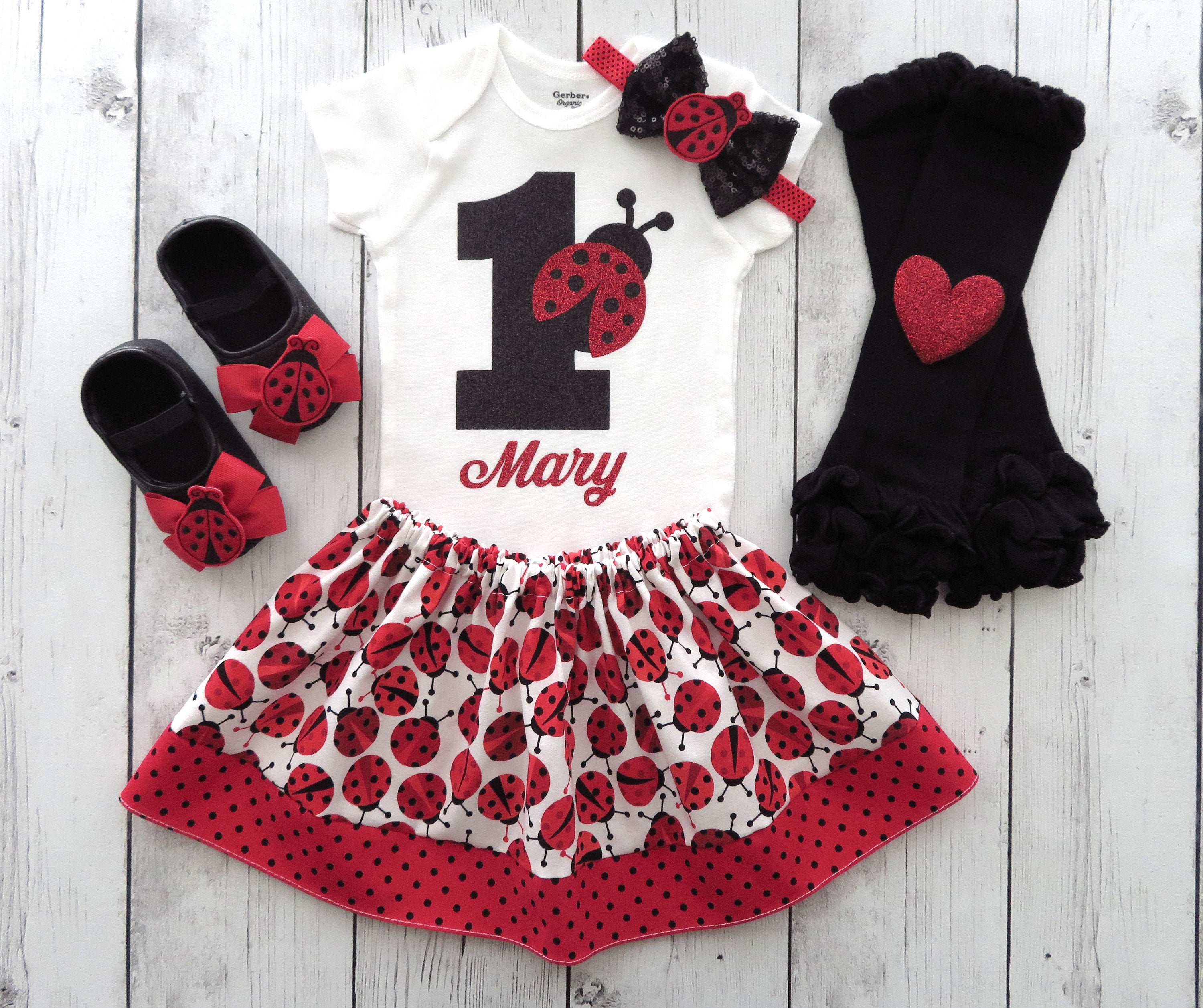Ladybug First Birthday Outfit - girl 1st birthday outfit, red black, ladybug headband, ladybug 1st birthday, 1st bday outfit,
