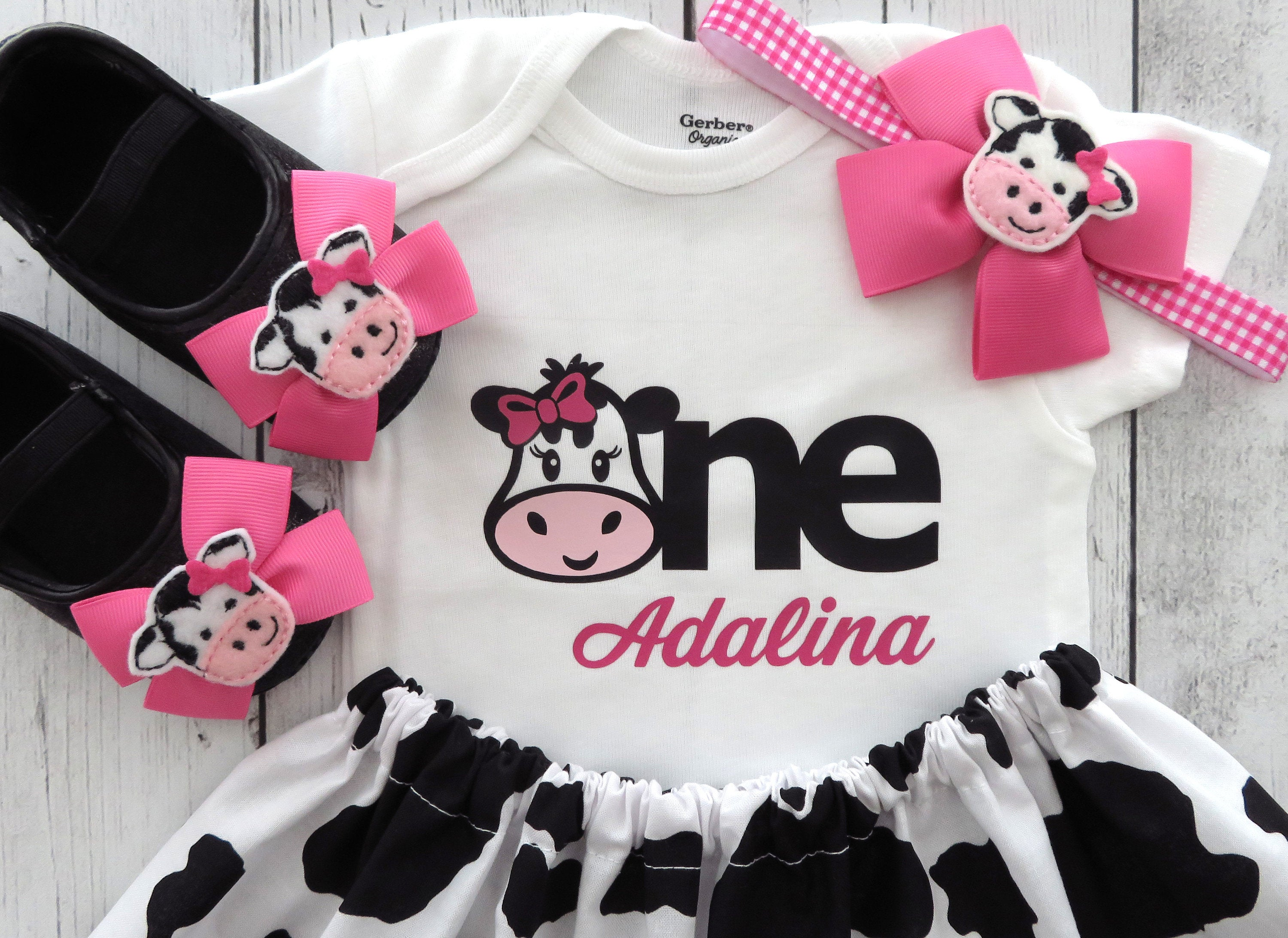 First Birthday Outfit in Cow print and Hot Pink Gingham - girl birthday outfit, farm animal birthday, barnyard 1st bday, pink cow birthday