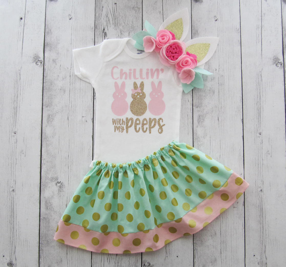 Chillin with my Peeps Dress for baby girl - mint pink gold, first easter outfit girl, bunny ears headband, first easter dress girl pink