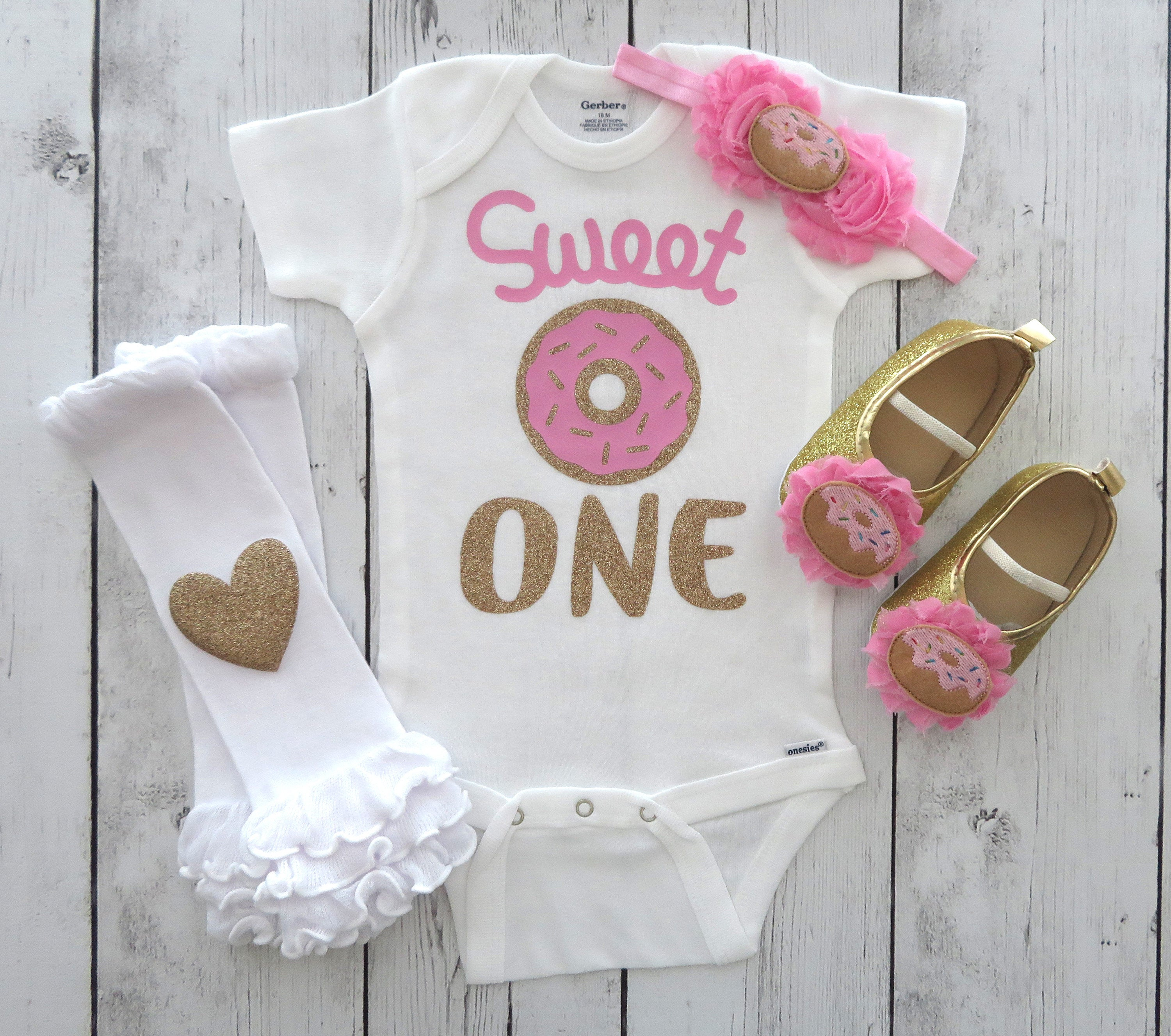 Sweet One Donut First Birthday Onesie in pink and gold - donut grow up, sweet one birthday outfit, donut shoes, donut birthday girl