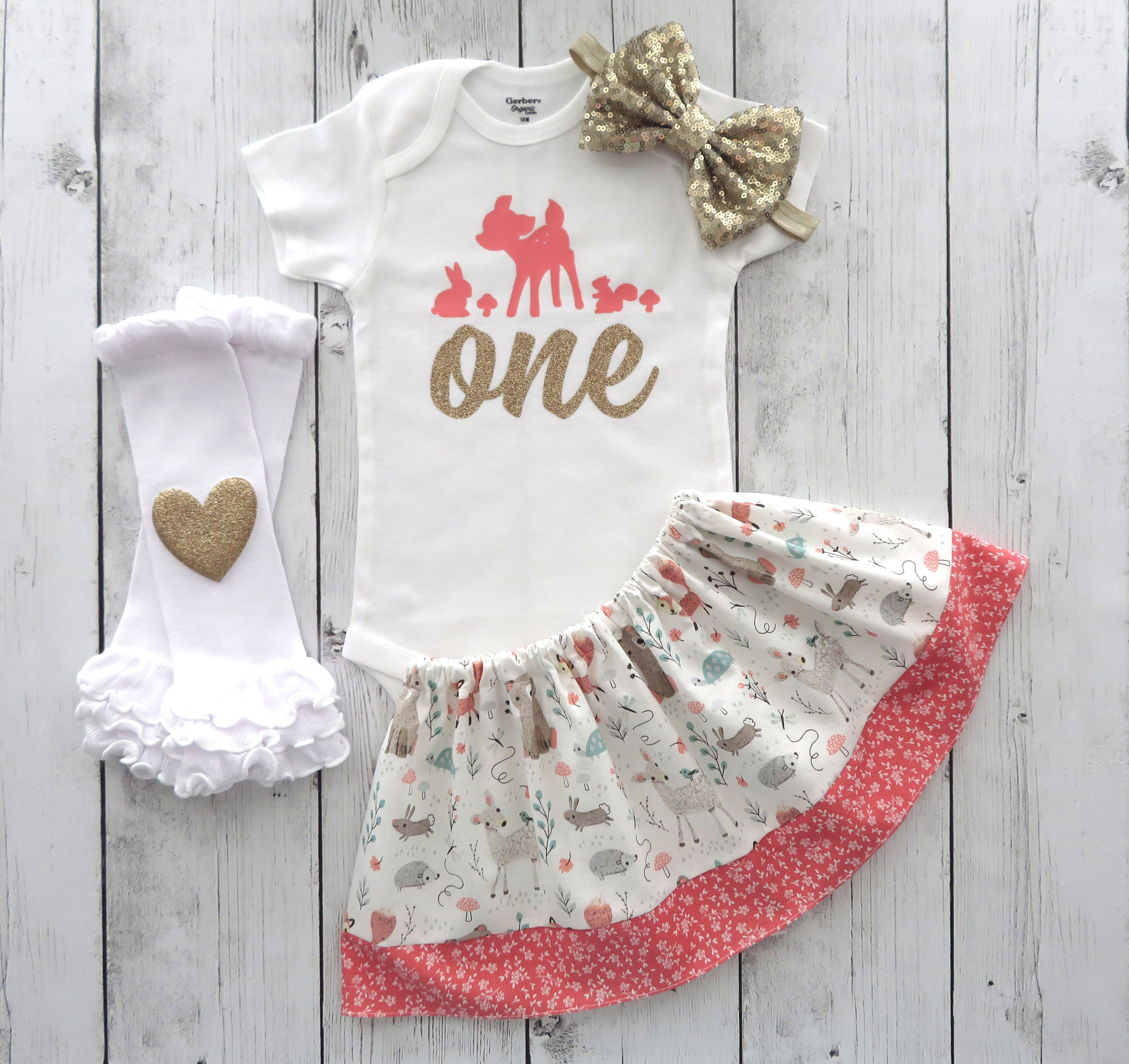 Deer First Birthday Outfit in coral and gold glitter - woodland 1st bday outfit, cute deer, 1st birthday outfit girl, oh deer birthday girl