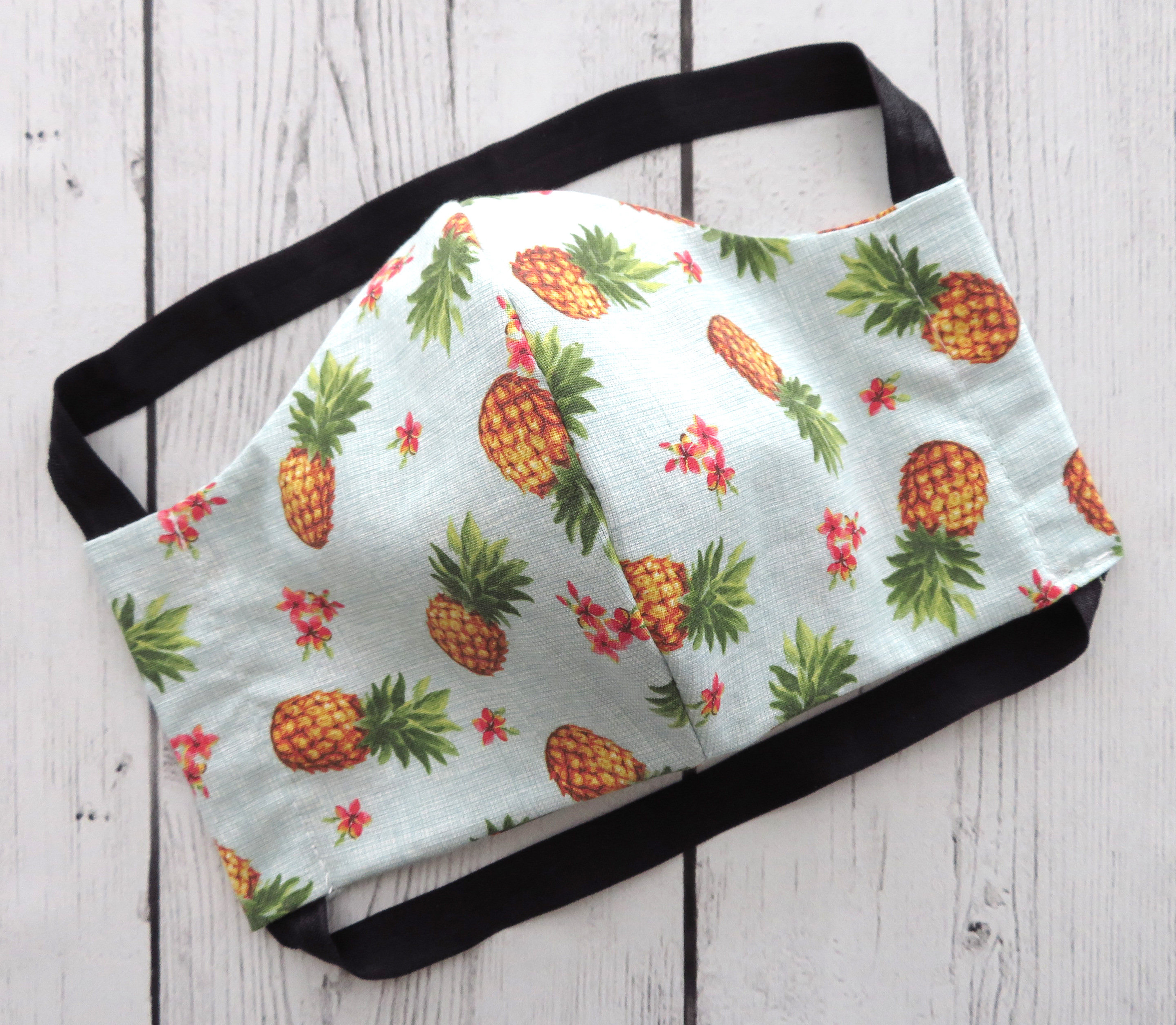 TEEN (Ages 9-15) Face Mask in tropical pineapple print - handmade cotton, washable & re-usable, comfortable head elastic, gender neutral