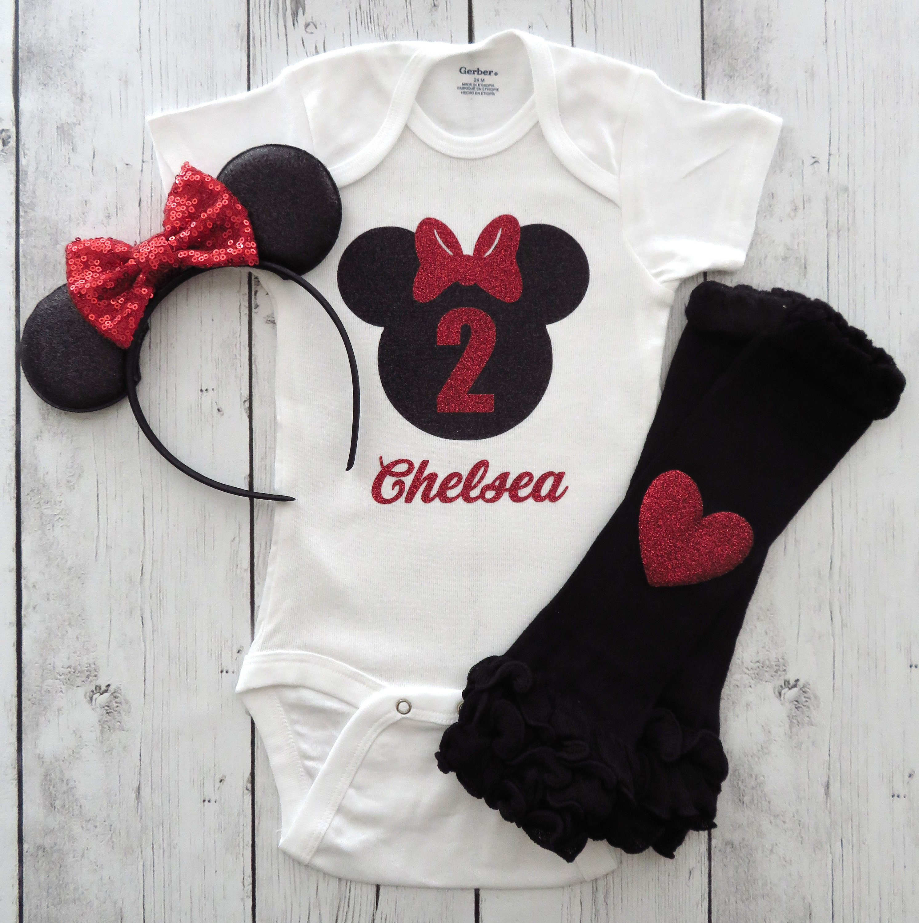 Minnie Mouse Second Birthday Onesie and Ears - girl birthday, red black minnie, personalized, minnie mouse red birthday outfit, minnie 2