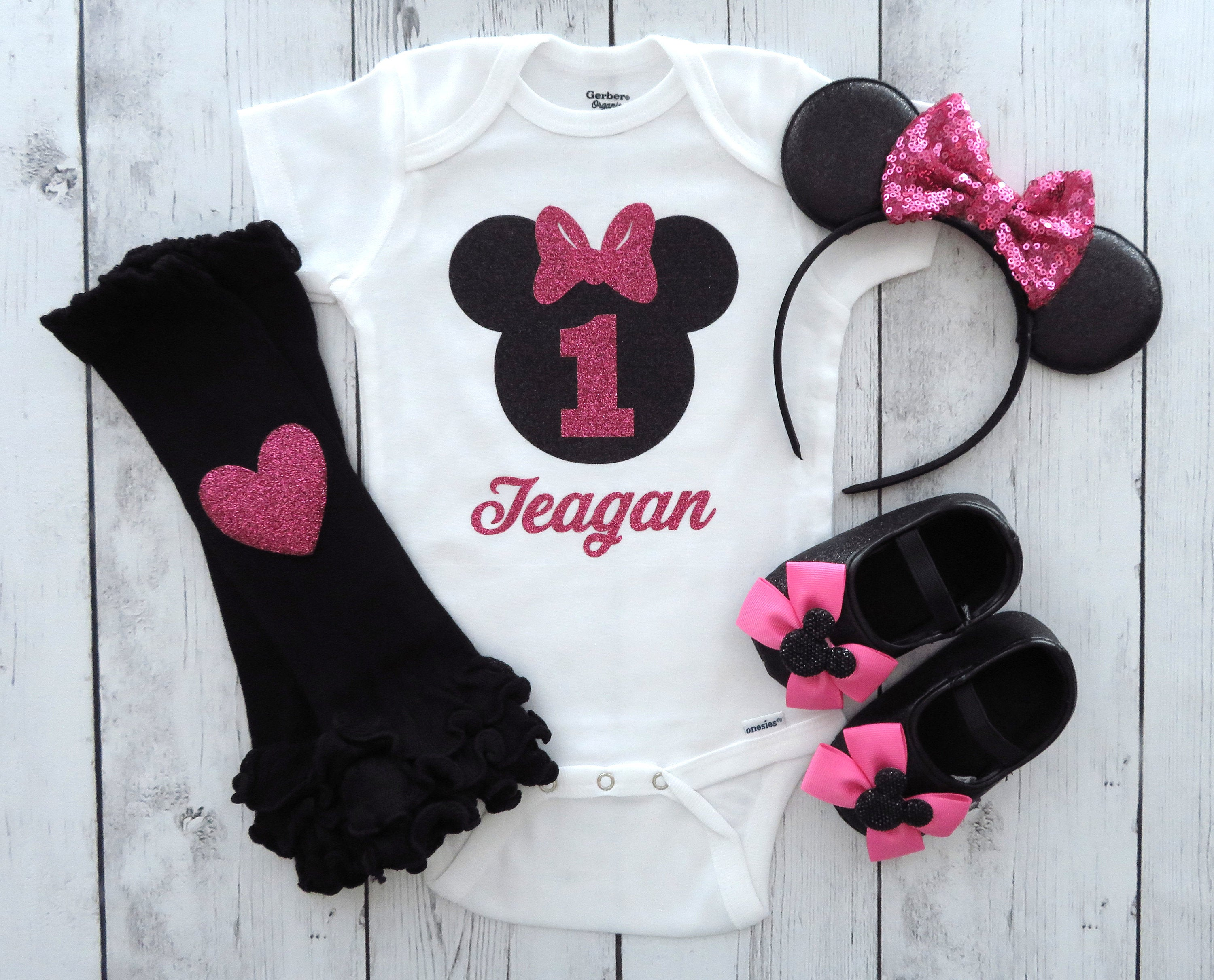 Minnie Mouse First Birthday Onesie with Minnie Ears and Minnie Shoes in pink - girl birthday, personalized, minnie mouse pink outfit