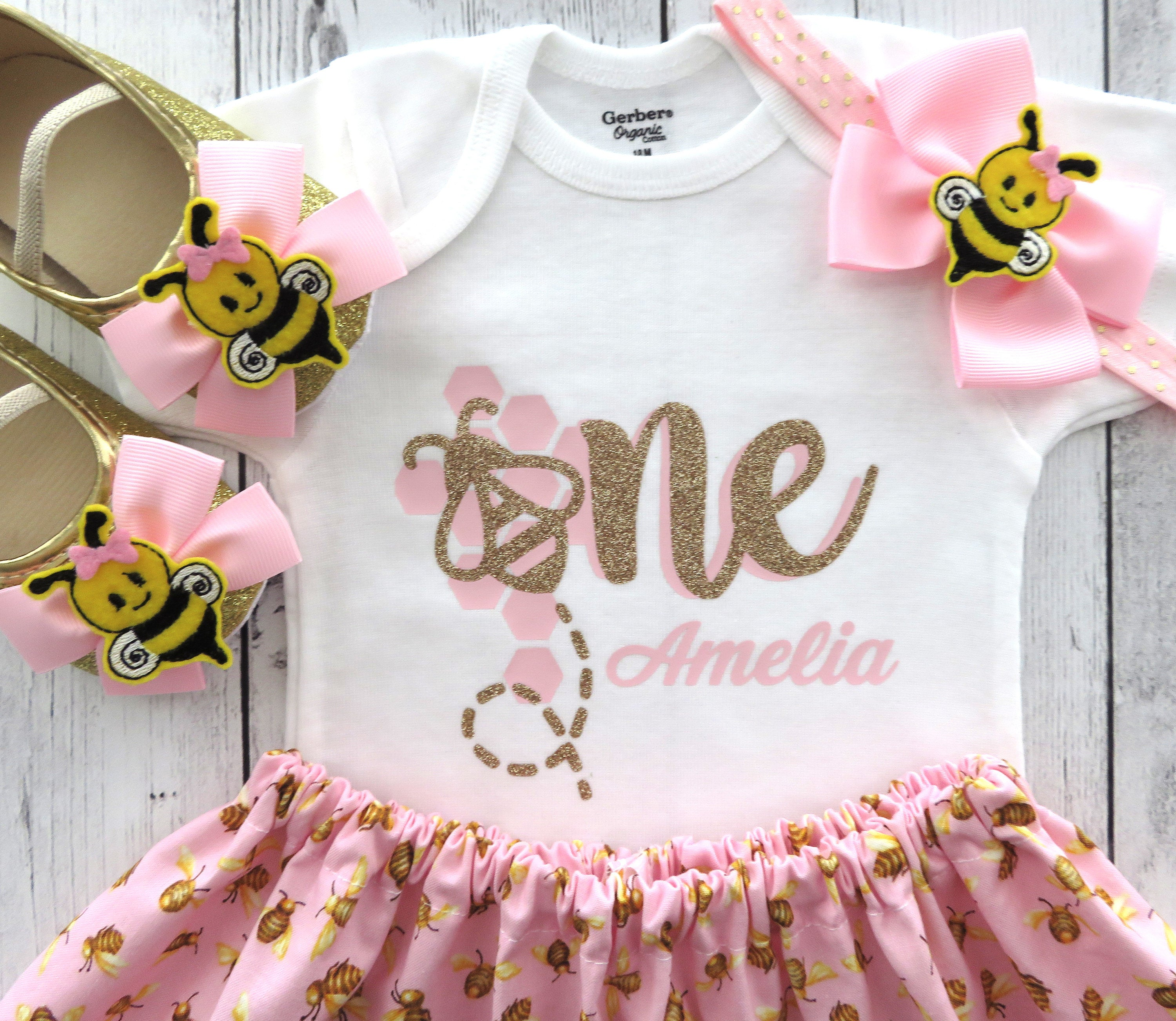 Bee First Birthday Outfit in pink and gold - my first bee-day, fun to bee one, bumble bee 1st bday outfit girl, bee birthday party girl