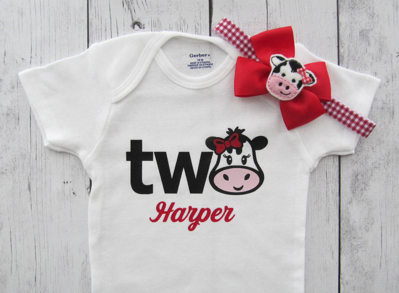 Cow Two Birthday Onesie - farm animal birthday, cow headband, second birthday outfit, personalized, red cow two, farm birthday, two year old