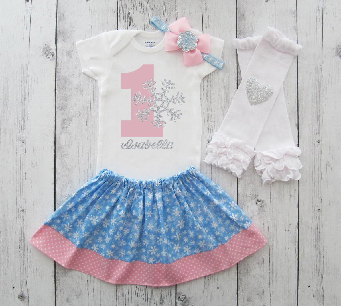 Winter ONEderland Birthday Outfit - snowflake 1 first birthday outfit, winter birthday girl, snow much fun to be one, pink blue snowflake