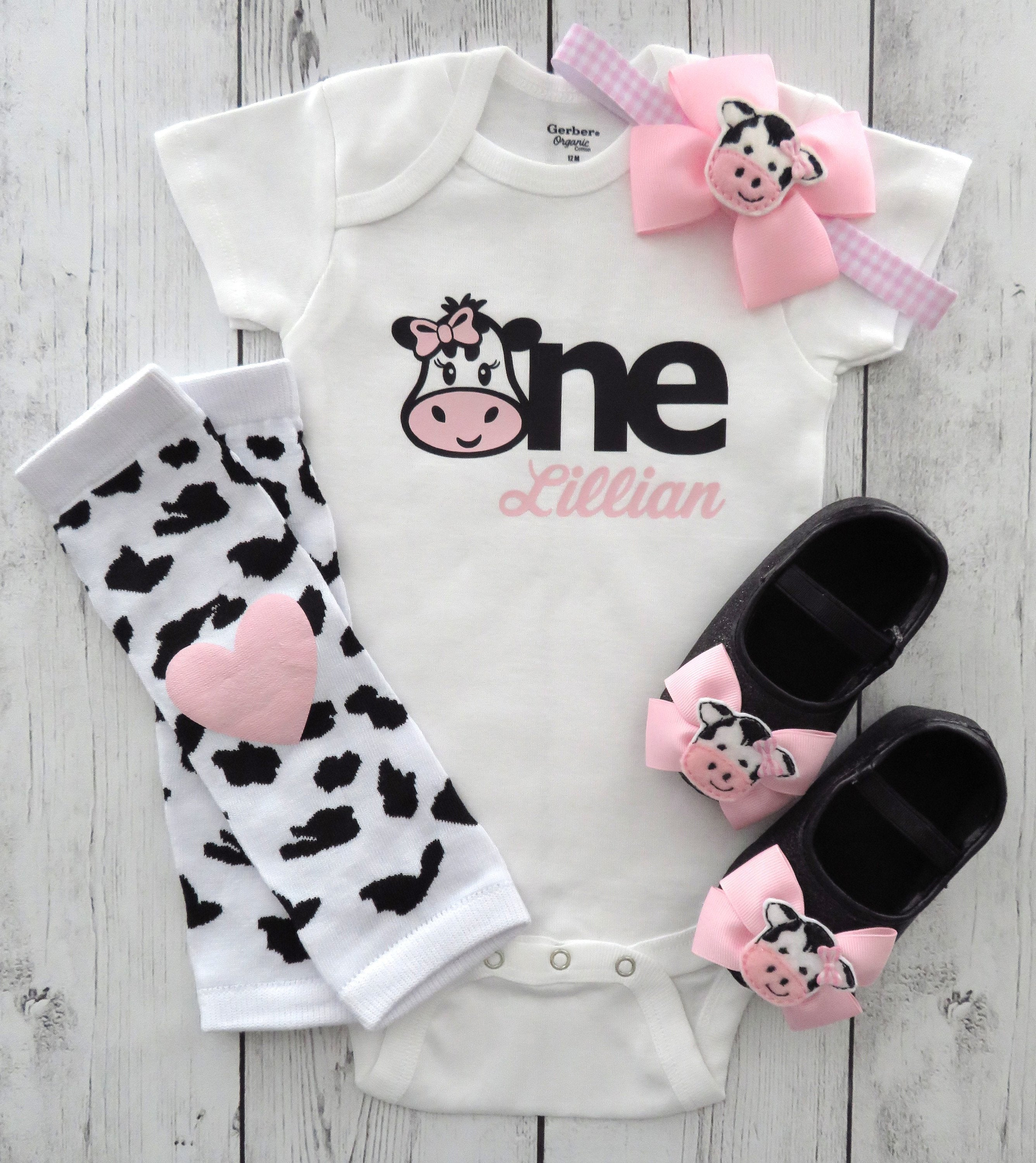 Cow One First Birthday Onesie in light pink for baby girl - barnyard first birthday shirt, cow girl birthday, cow headband pink