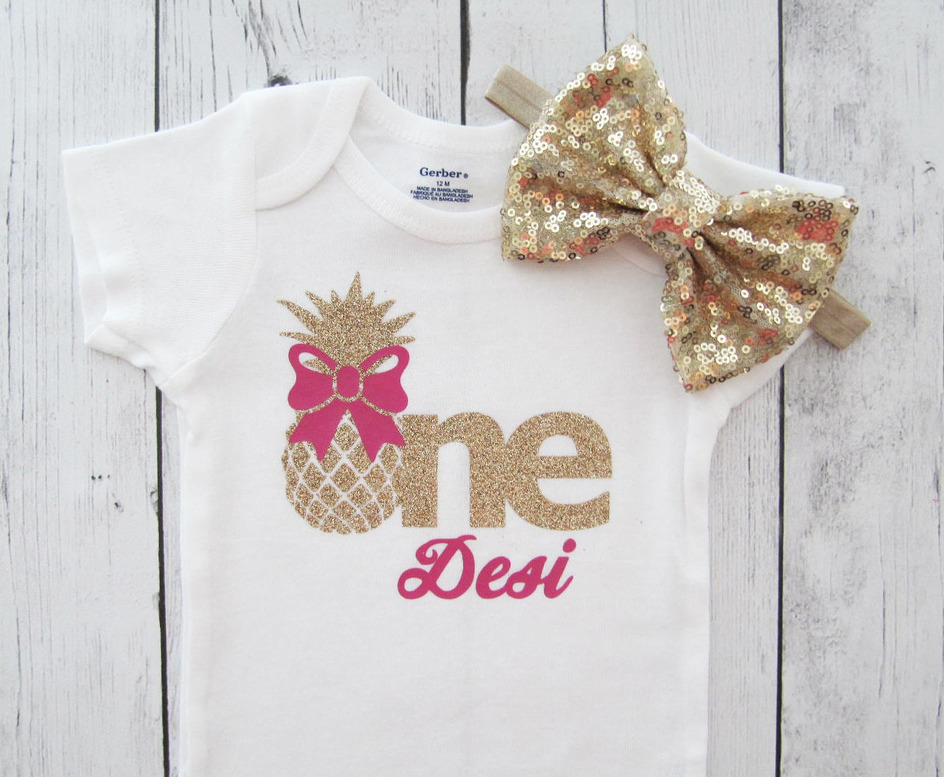 Pineapple One Birthday Onesie - pineapple gold, alola birthday, pineapple girl, summer birthday, hot pink gold, pineapple name
