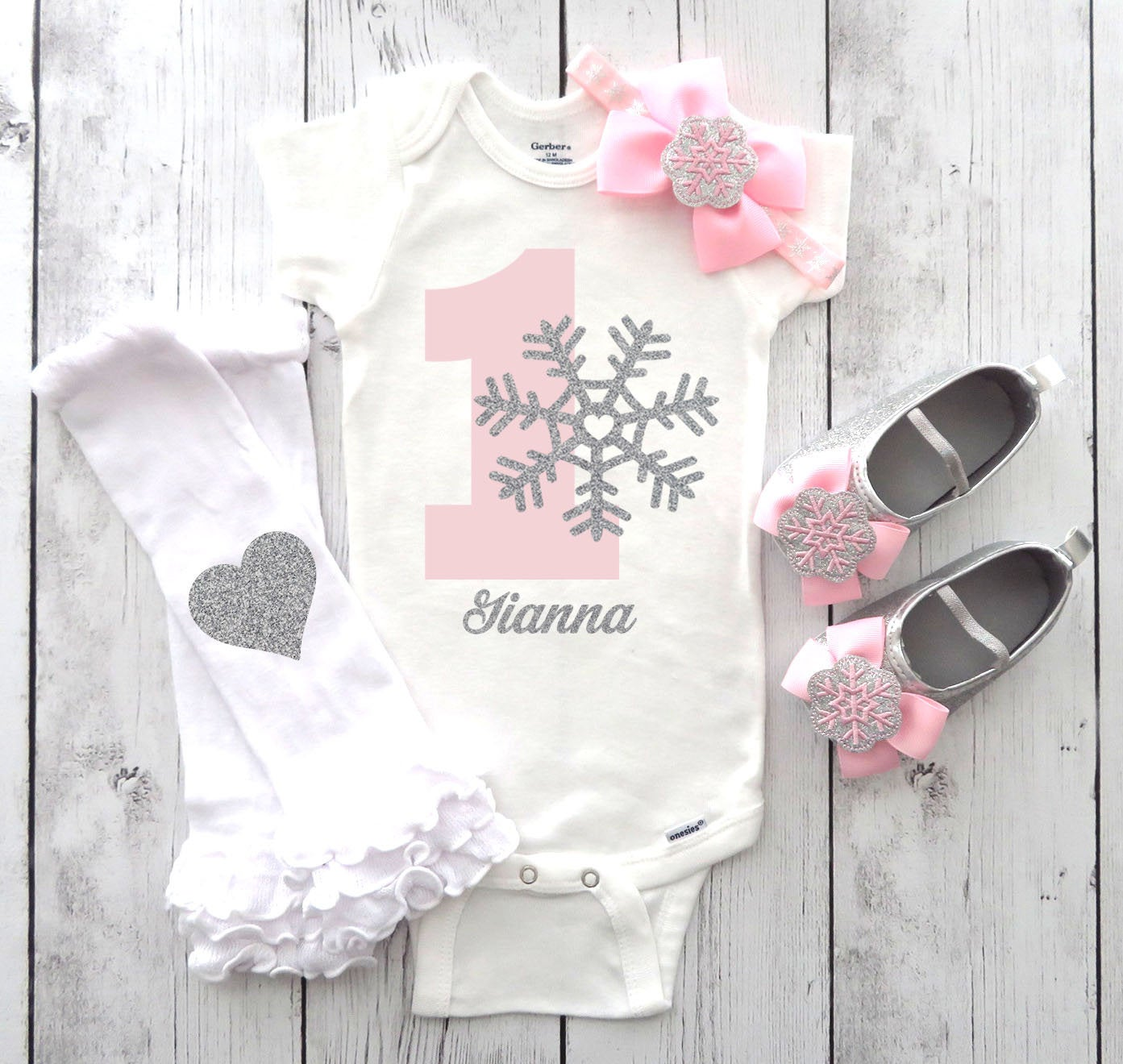 Snowflake First Birthday Onesie with matching silver glitter shoes - pink silver snowflake, snowflake name, snow much fun, winter onederland