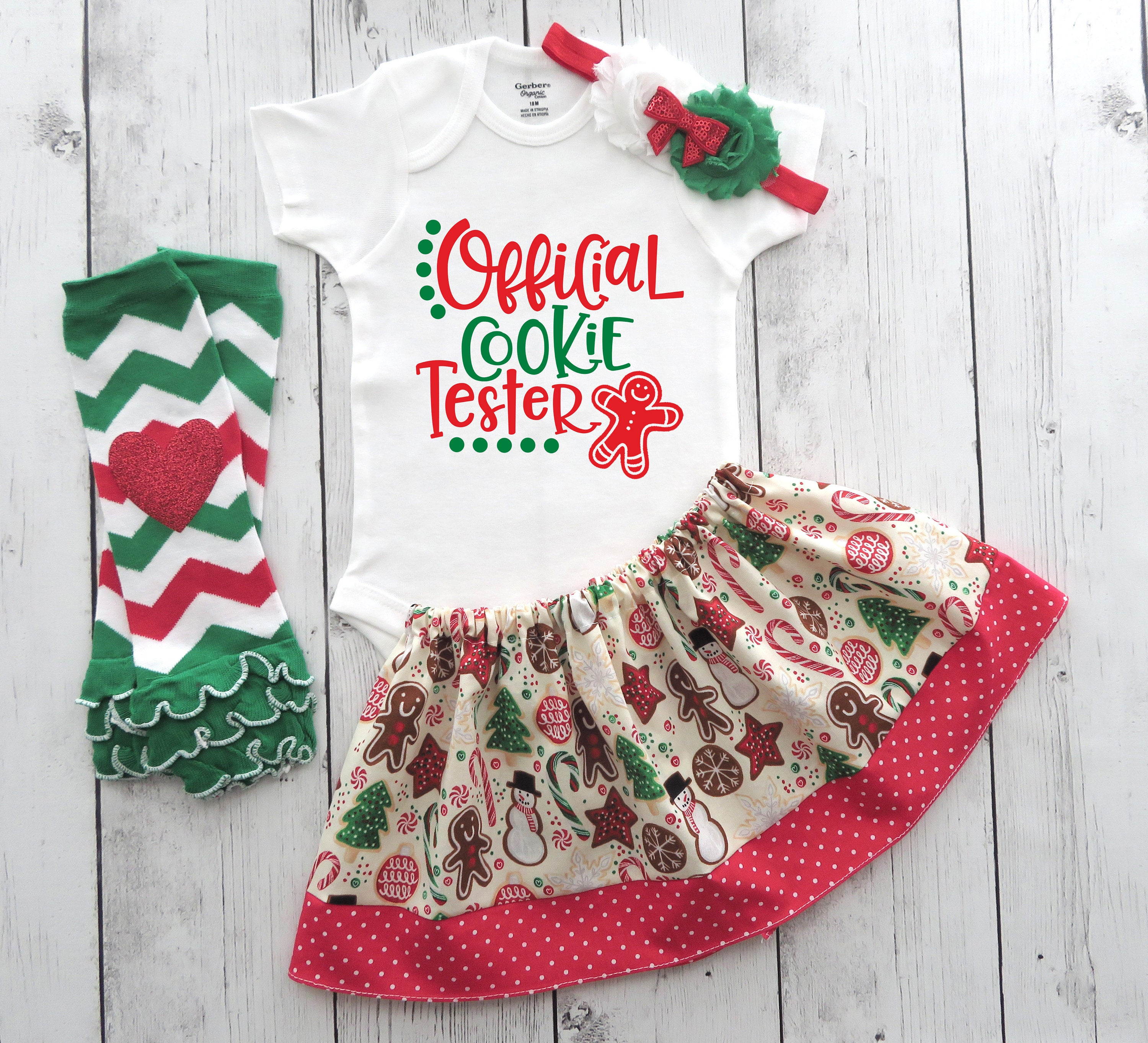 Official Cookie Tester - Baby Girl Christmas Outfit - baby holiday onesie, my first christmas, xmas onesie, girl christmas outfit