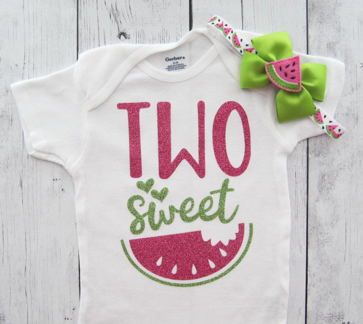 Two Sweet Watermelon First Birthday Onesie - girl 2nd birthday, watermelon birthday, watermelon pink lime, watermelon bow, two year old