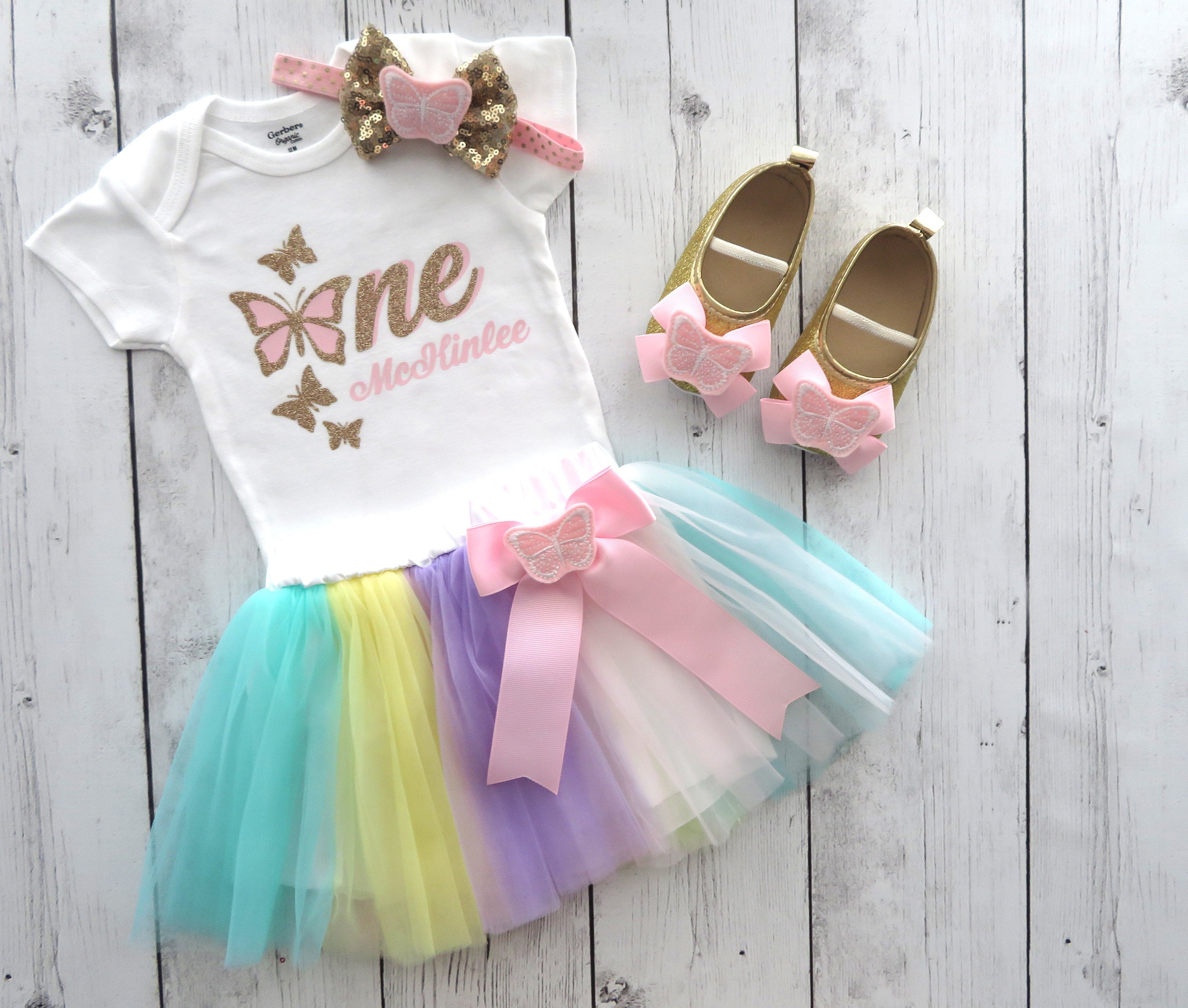 Butterfly First Birthday Outfit with Tutu Skirt and Bow and Butterfly Shoes - 1st bday outfit girl, butterfly tutu outfit, butterfly bday