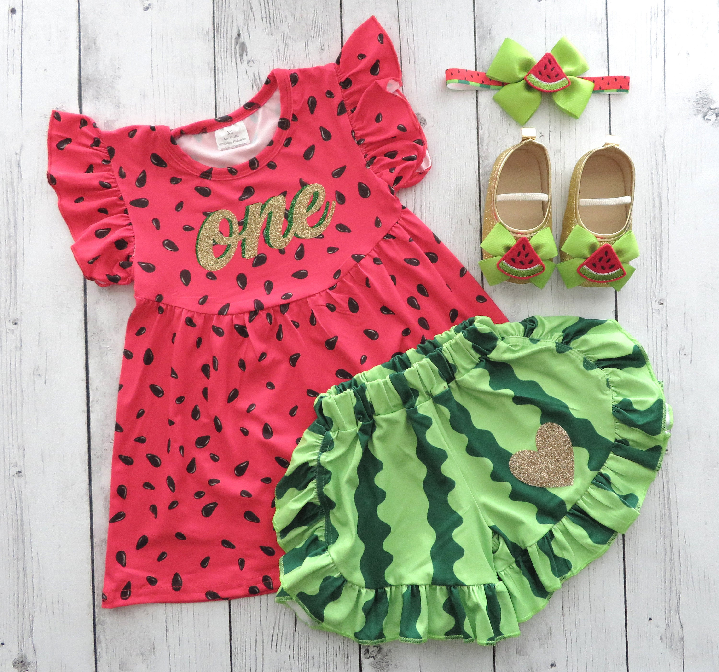 Watermelon First Birthday Outfit with bloomers/shorts -red green melon, one in a melon, 1st bday outfit, summer birthday, watermelon shoes